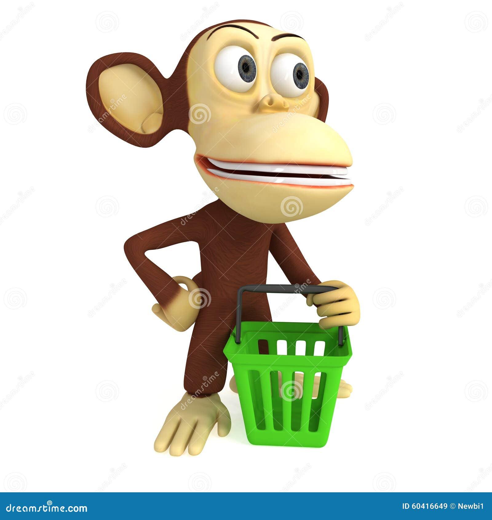 3d与手提篮的猴子