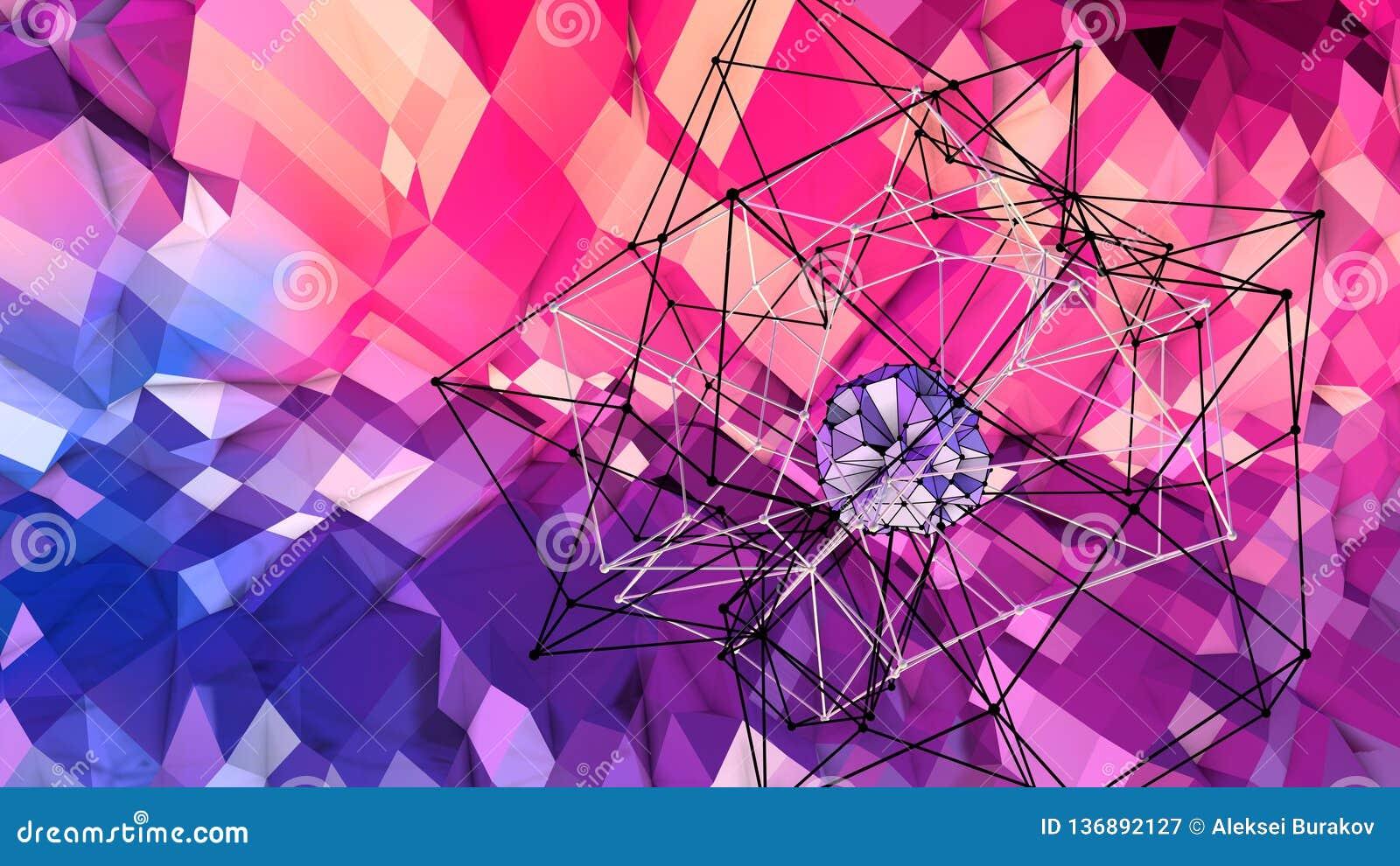3d与现代梯度颜色的低多抽象几何背景 3d表面蓝色红色紫罗兰色梯度颜色与