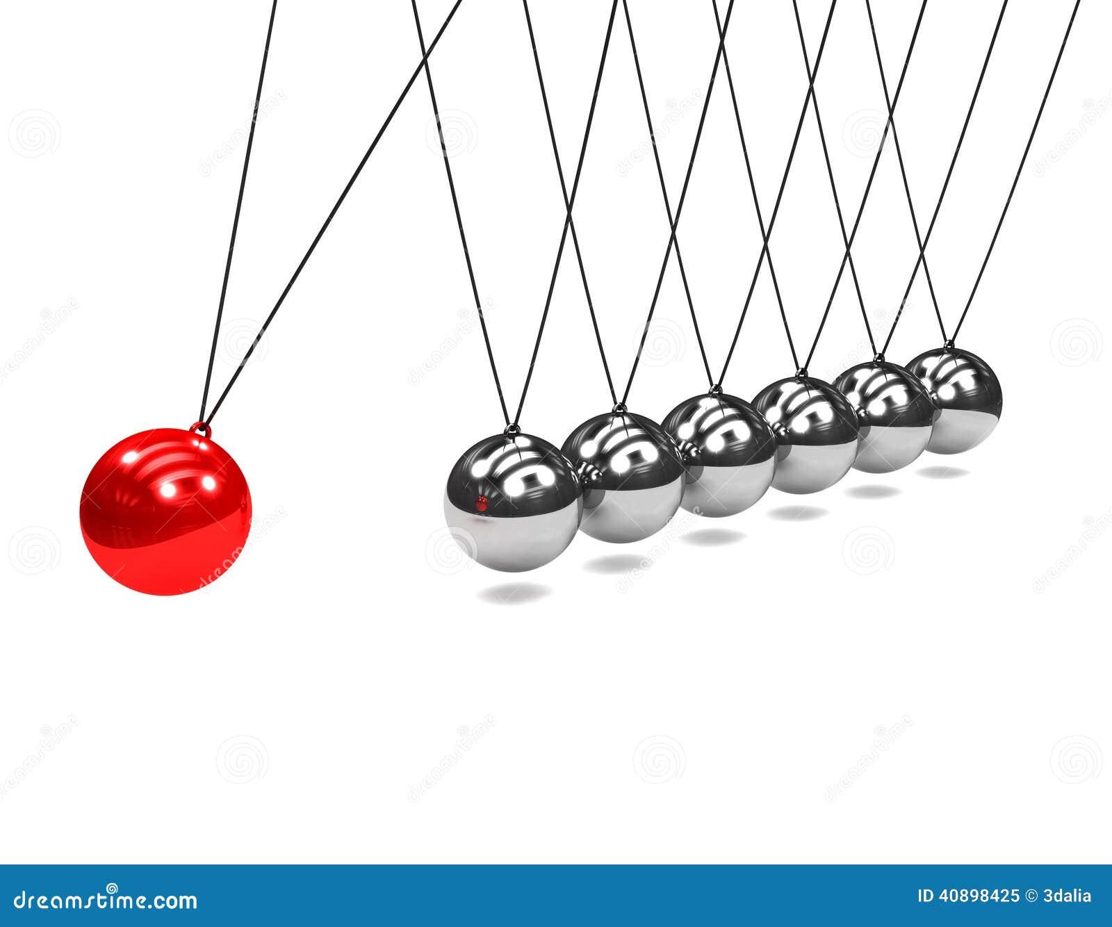 3d与红色球的牛顿摇篮