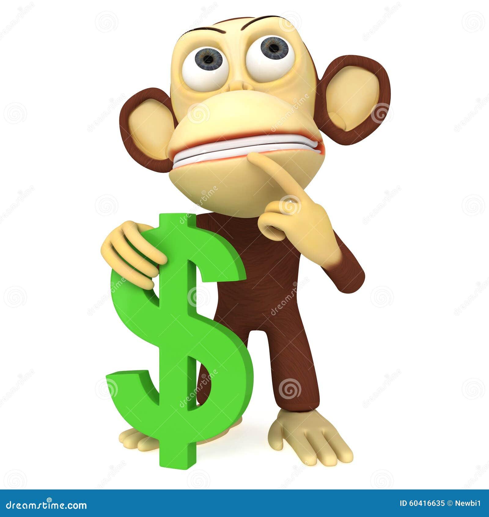 3d与美元的符号的猴子