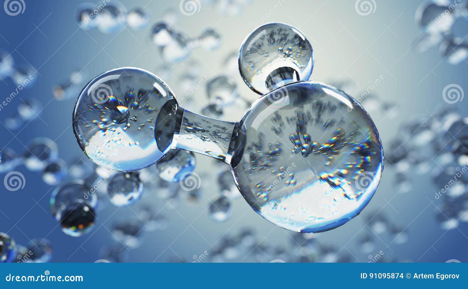3d与水分子的例证 抽象分子微生物学或科学背景