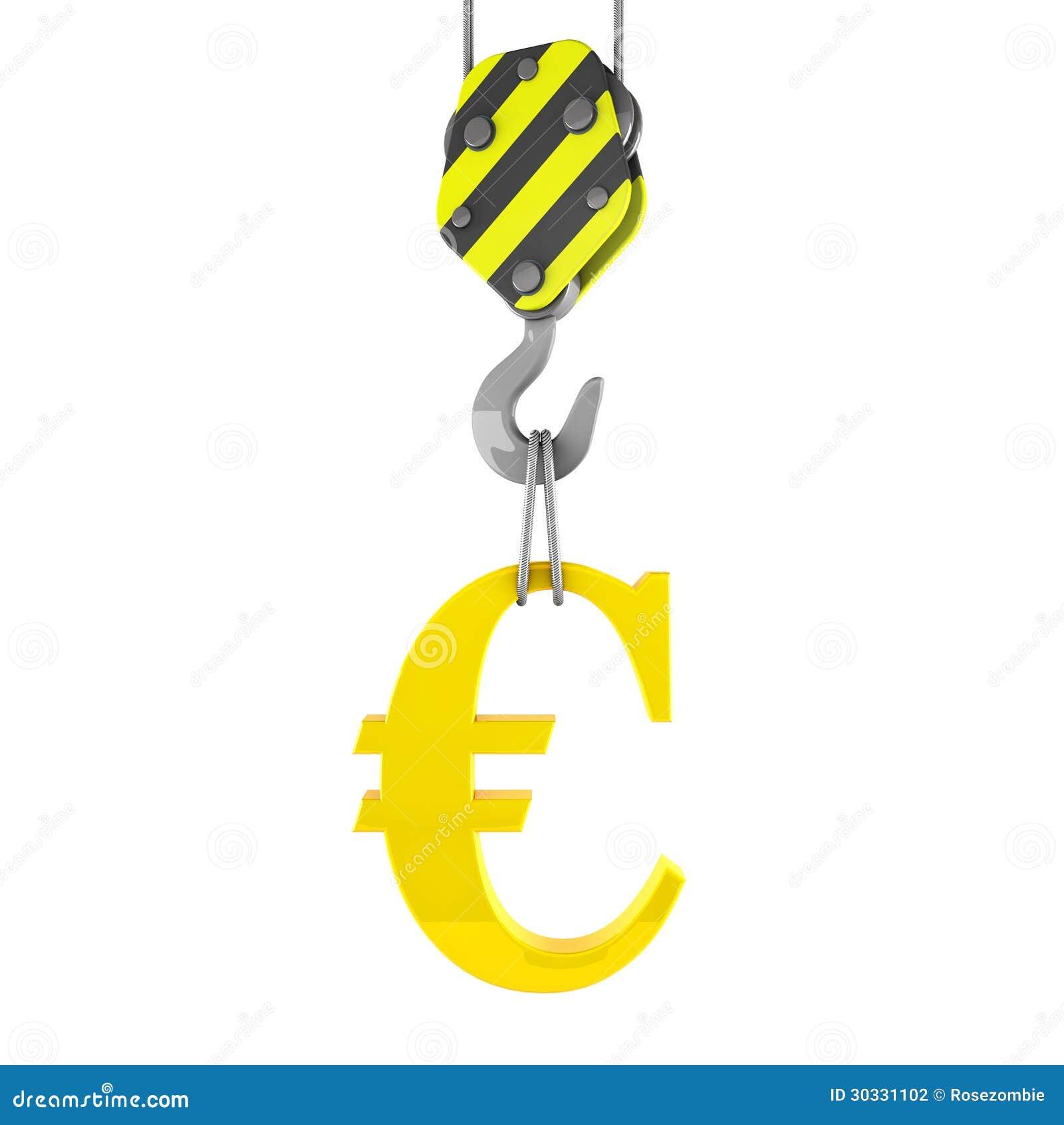 3d举金黄欧洲标志的建筑用起重机勾子