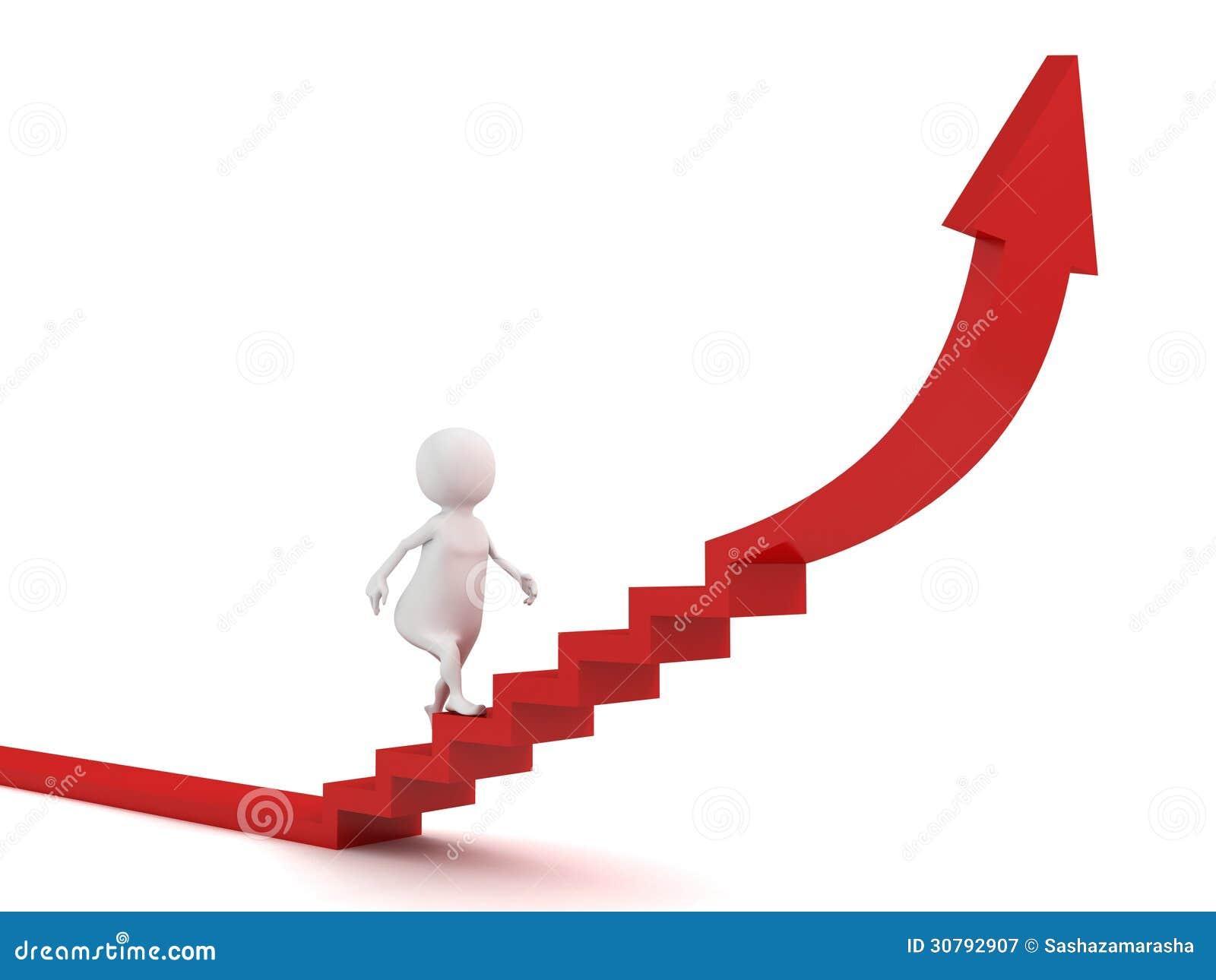 3d人提高对在台阶红色箭头3d的成功.