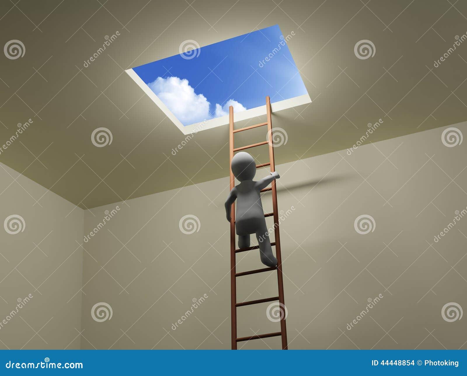 3D人爬梯子对天空