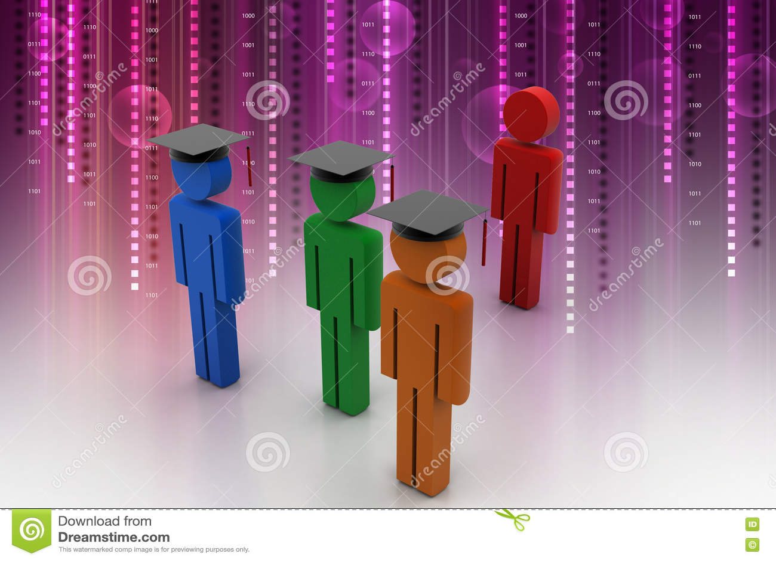 3d人穿戴承诺的毕业盖帽