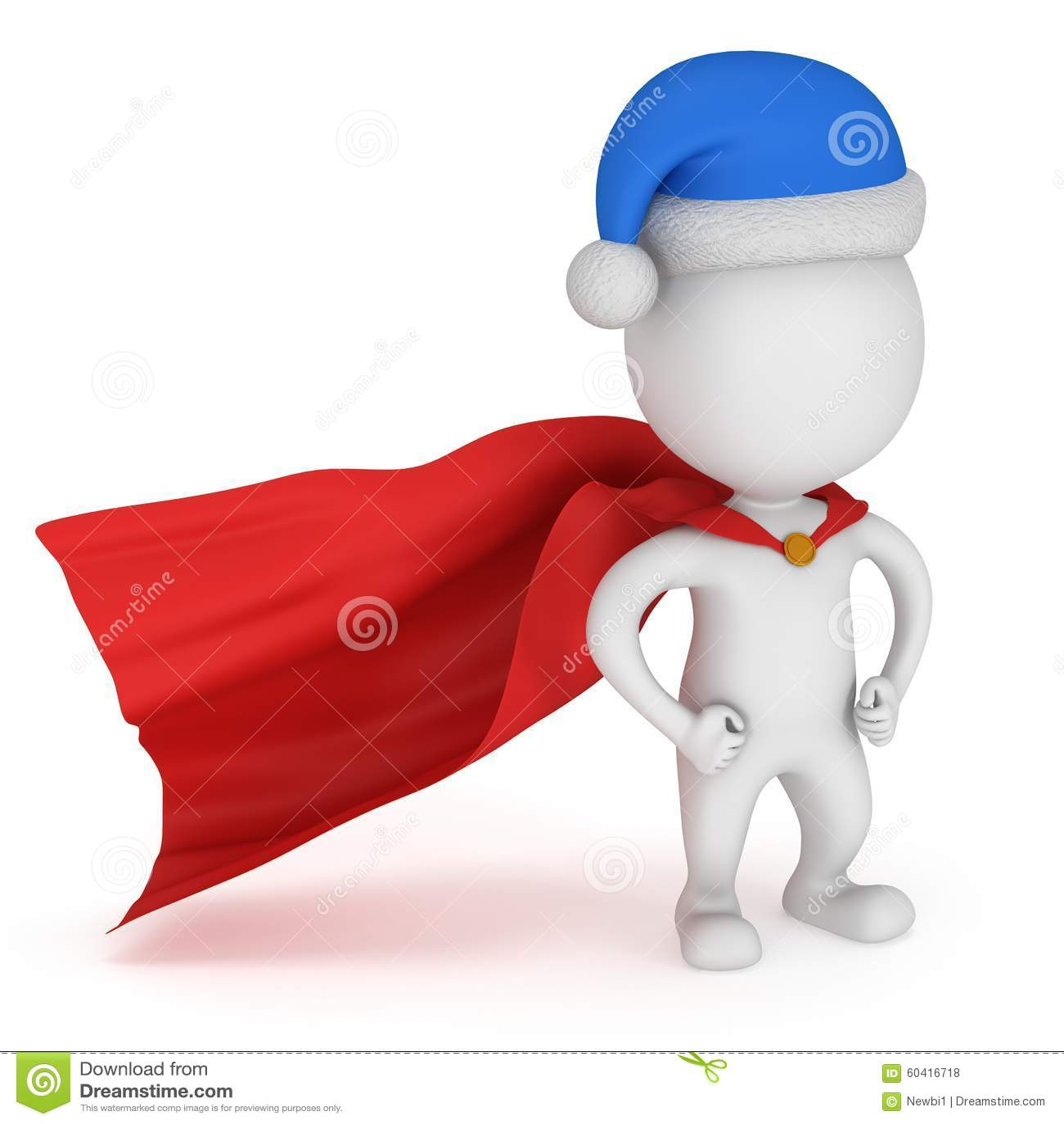 3d人-有圣诞老人帽子的勇敢的超级英雄