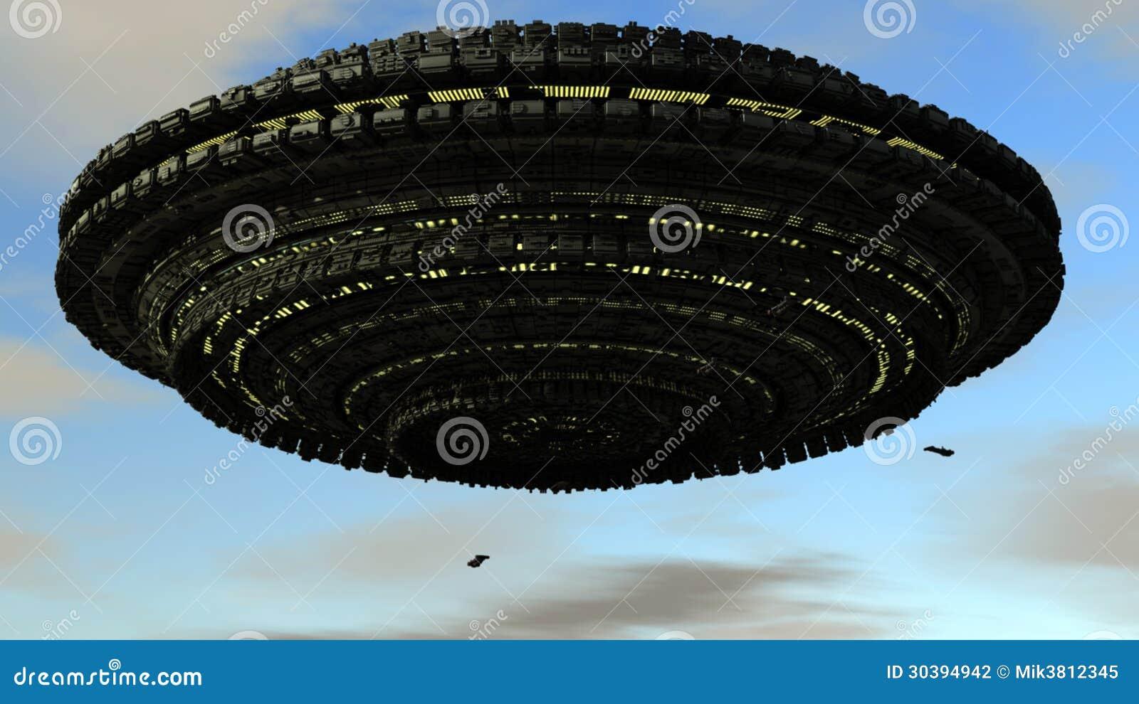 3d伟大的科学幻想小说飞碟和天照明.