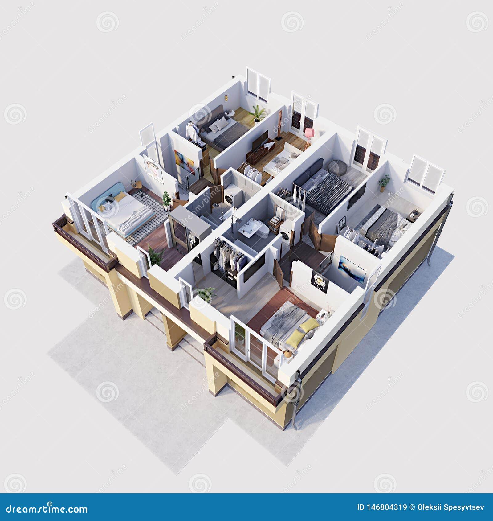 3d使住宅现代公寓楼面布置图和布局,等量