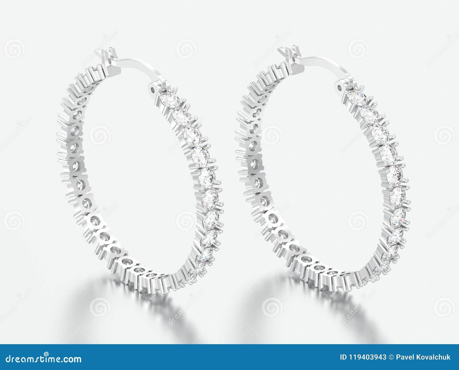 3D例证人造白金或银色装饰金刚石耳环