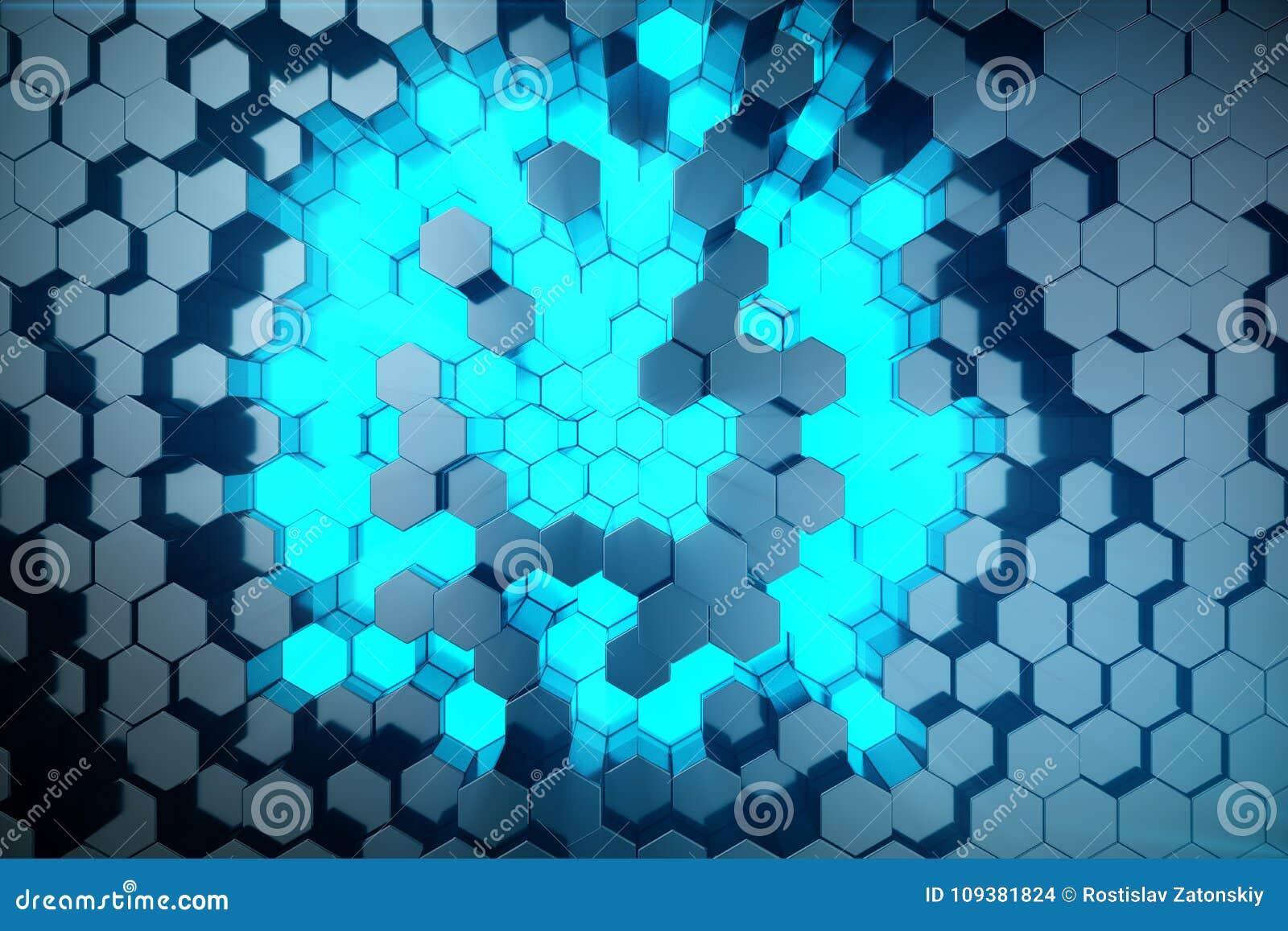 3D例证未来派表面六角形样式摘要蓝色与光线的 蓝色色彩六角背景