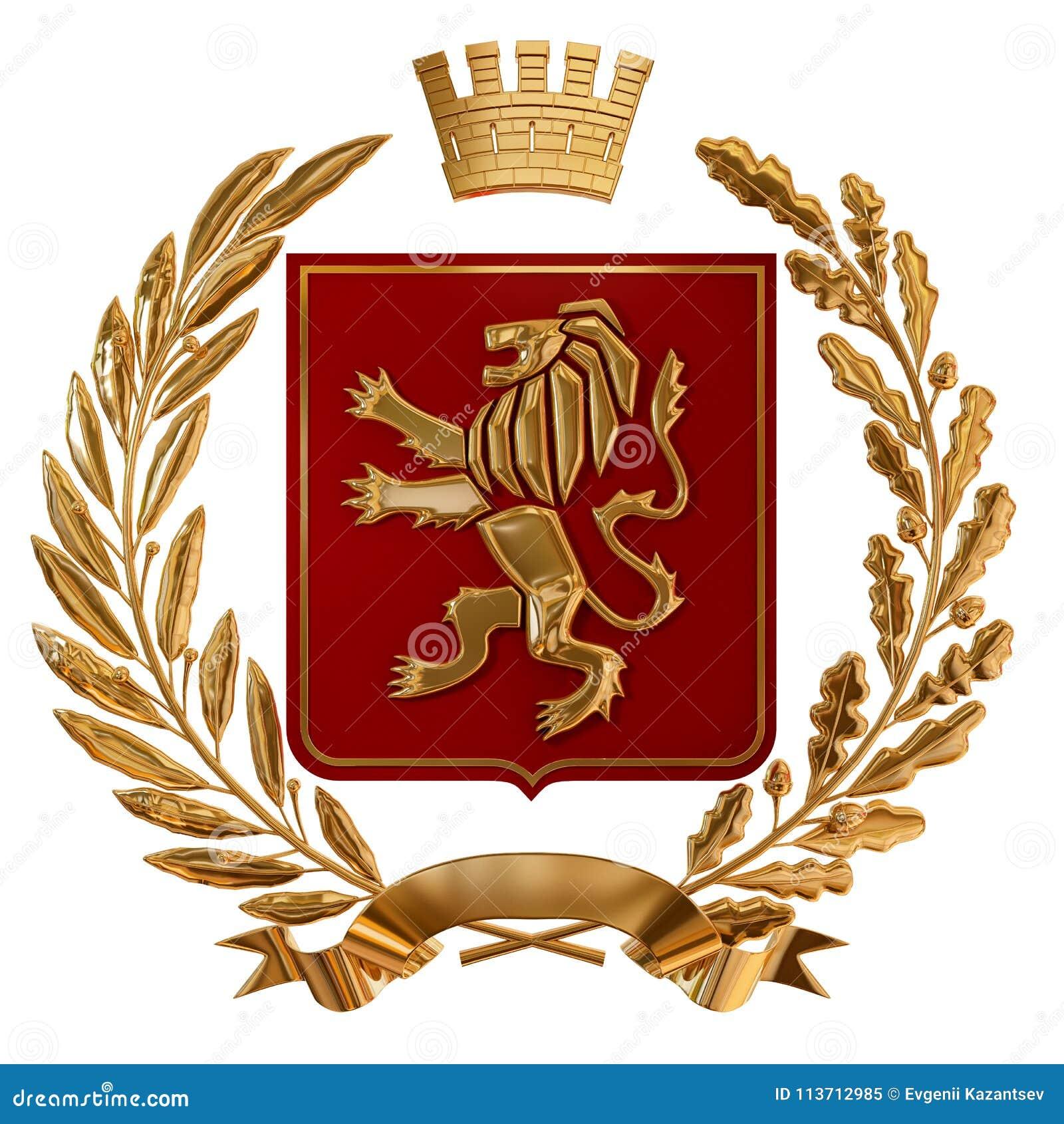 3D例证纹章,红色徽章 金黄橄榄树枝,橡木分支,冠,盾,狮子 Isolat