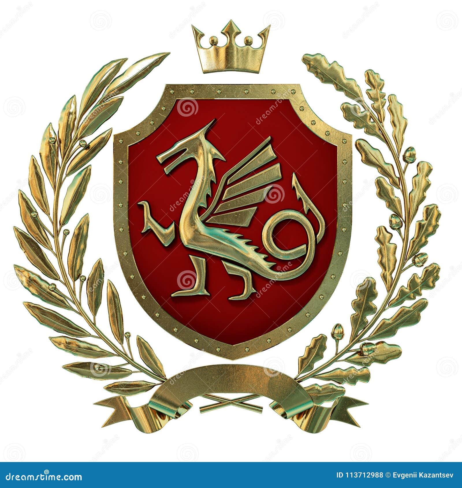 3D例证纹章,红色徽章 金黄橄榄树枝,橡木分支,冠,盾,龙 Isolat