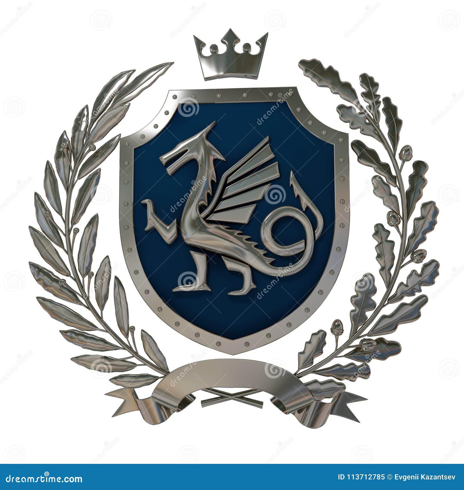 3D例证纹章,蓝色徽章 ÐœÐµÑ 'аД橄榄树枝,橡木分支,冠,盾,龙 Isolat