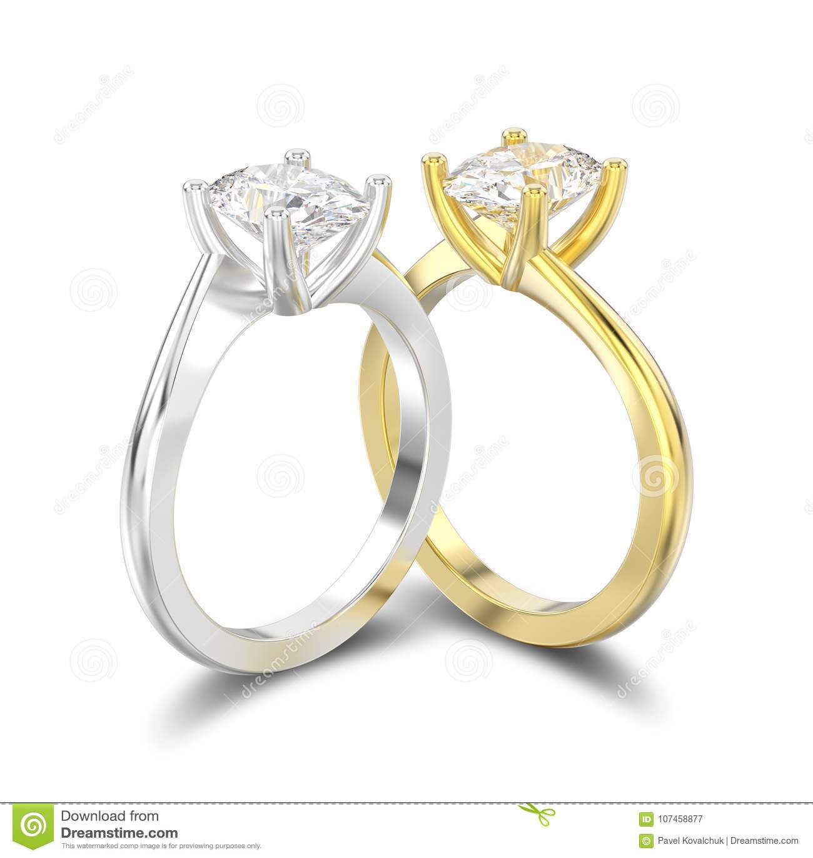 3D例证隔绝了两黄色和人造白金或银英国人
