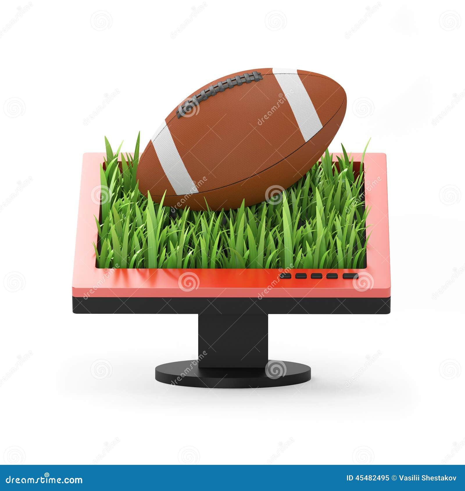 3d例证:与橄榄球球的显示器