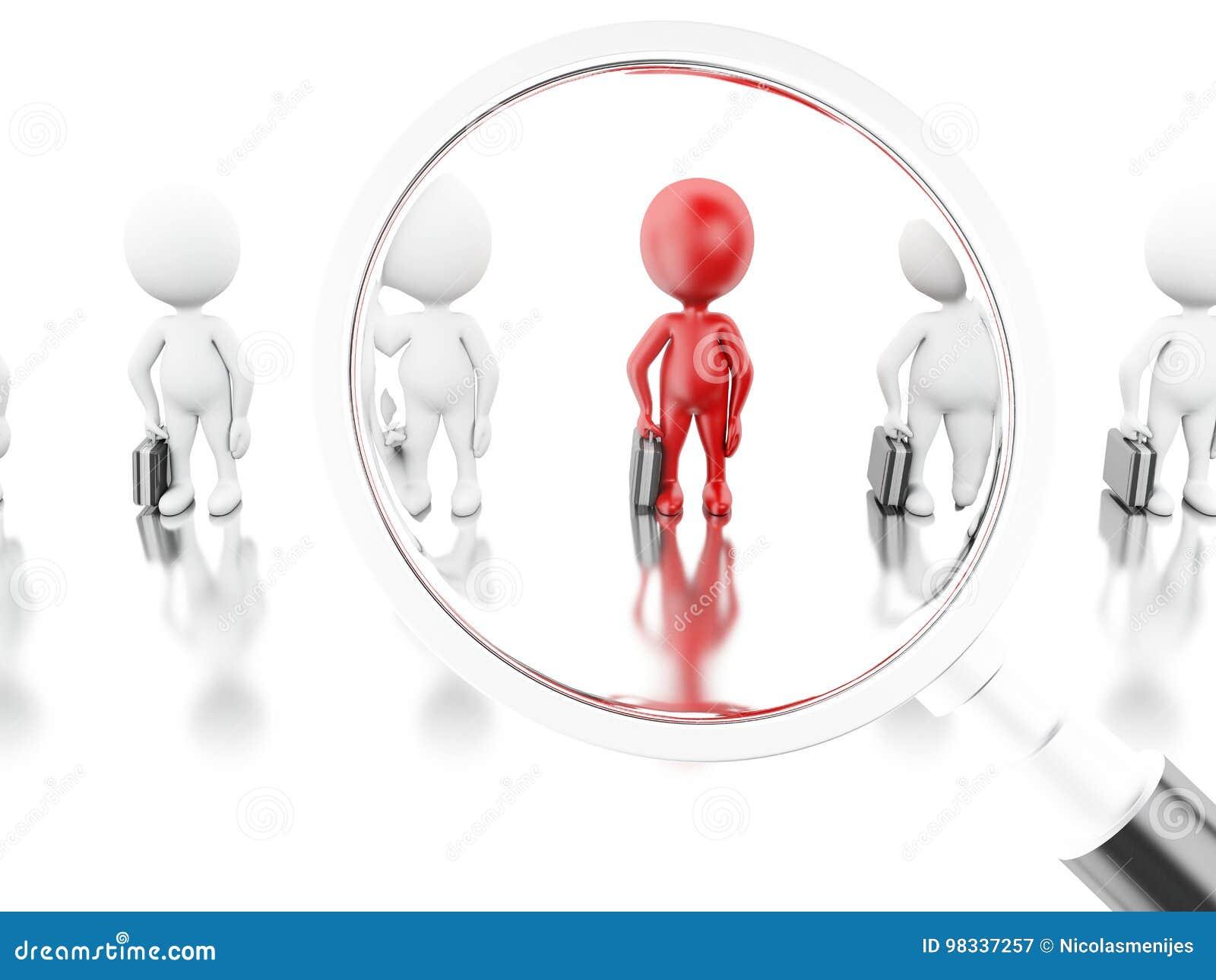 3d例证 带走一名新的工作者的放大镜