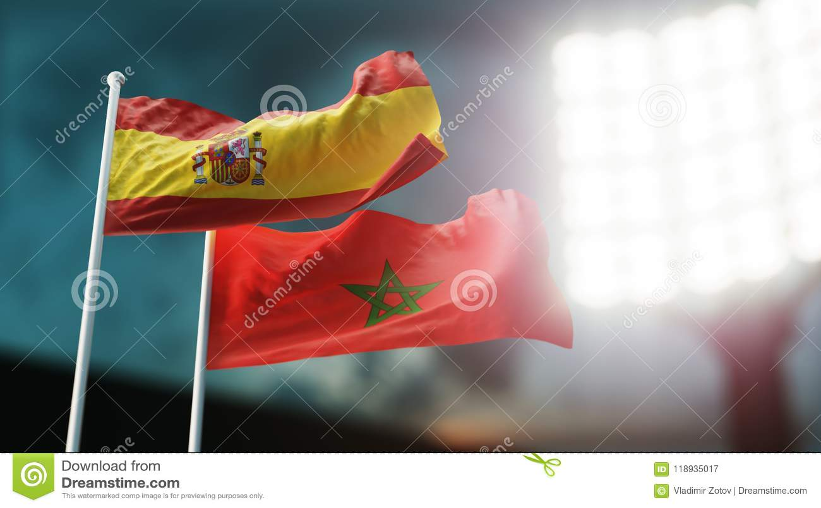 3d例证 挥动在风的两面国旗 夜体育场 冠军2018年 足球 西班牙对摩洛哥