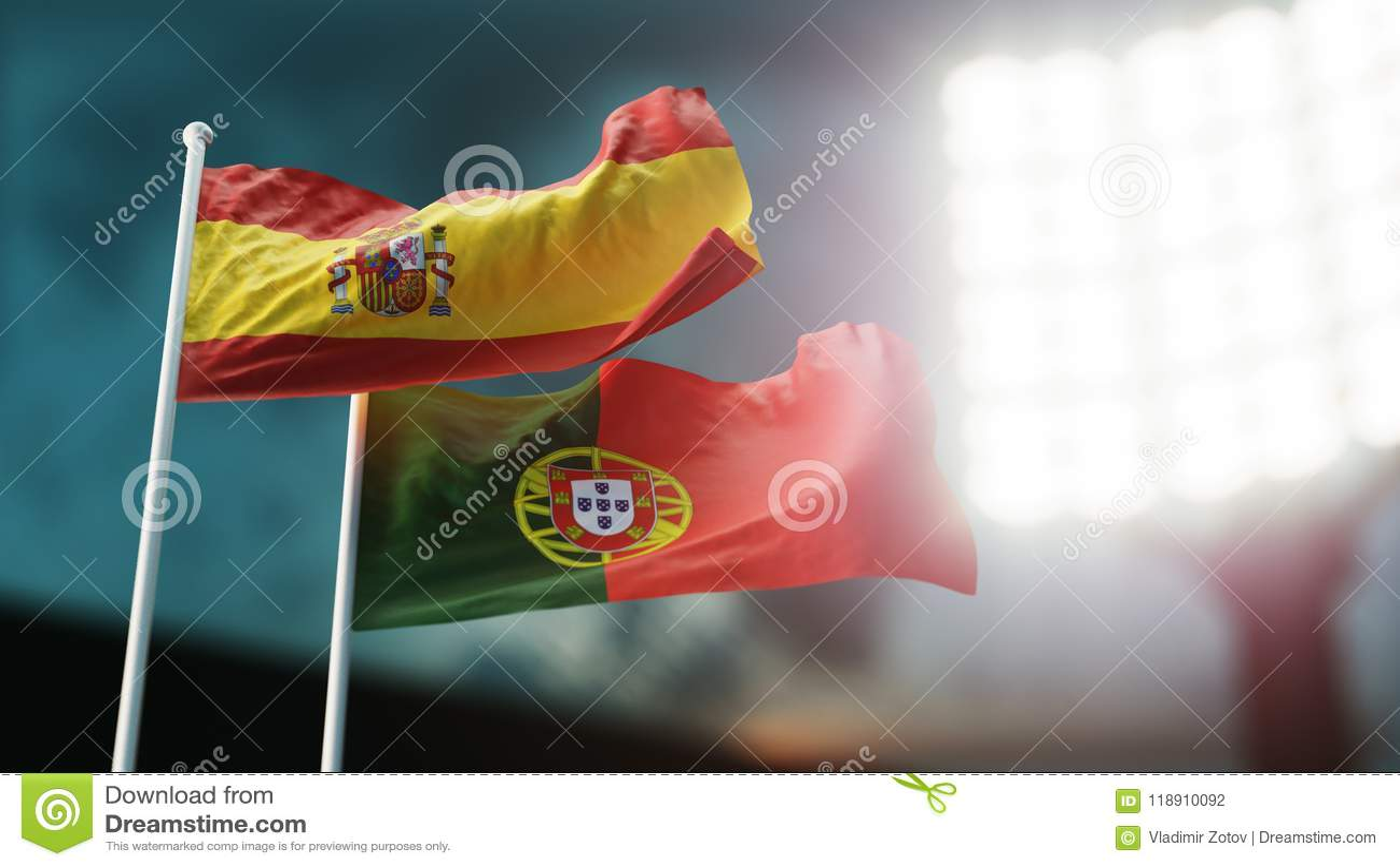 3d例证 挥动在风的两面国旗 夜体育场 冠军2018年 足球 西班牙对葡萄牙