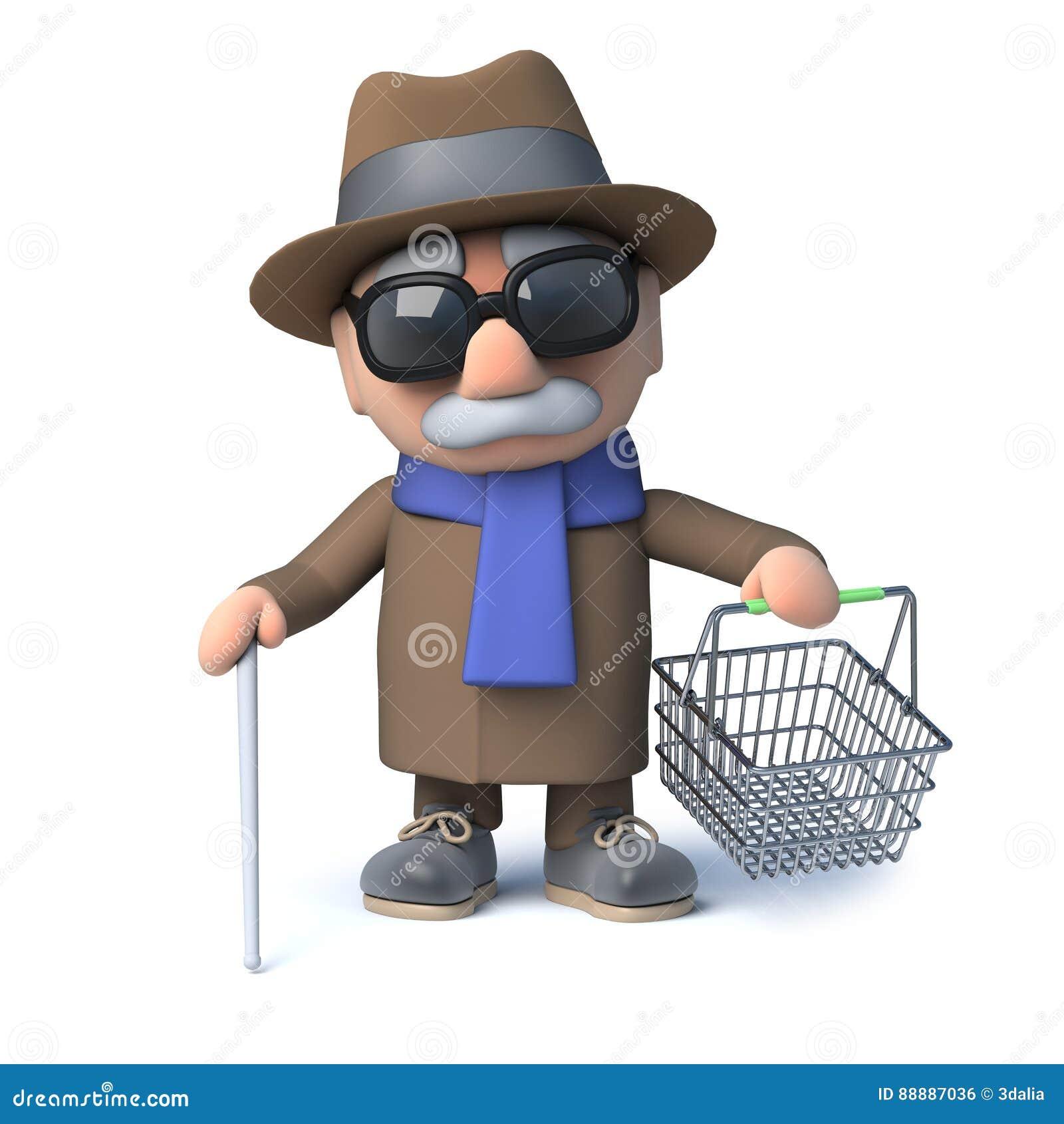 3d动画片盲人去购物与他的手提篮