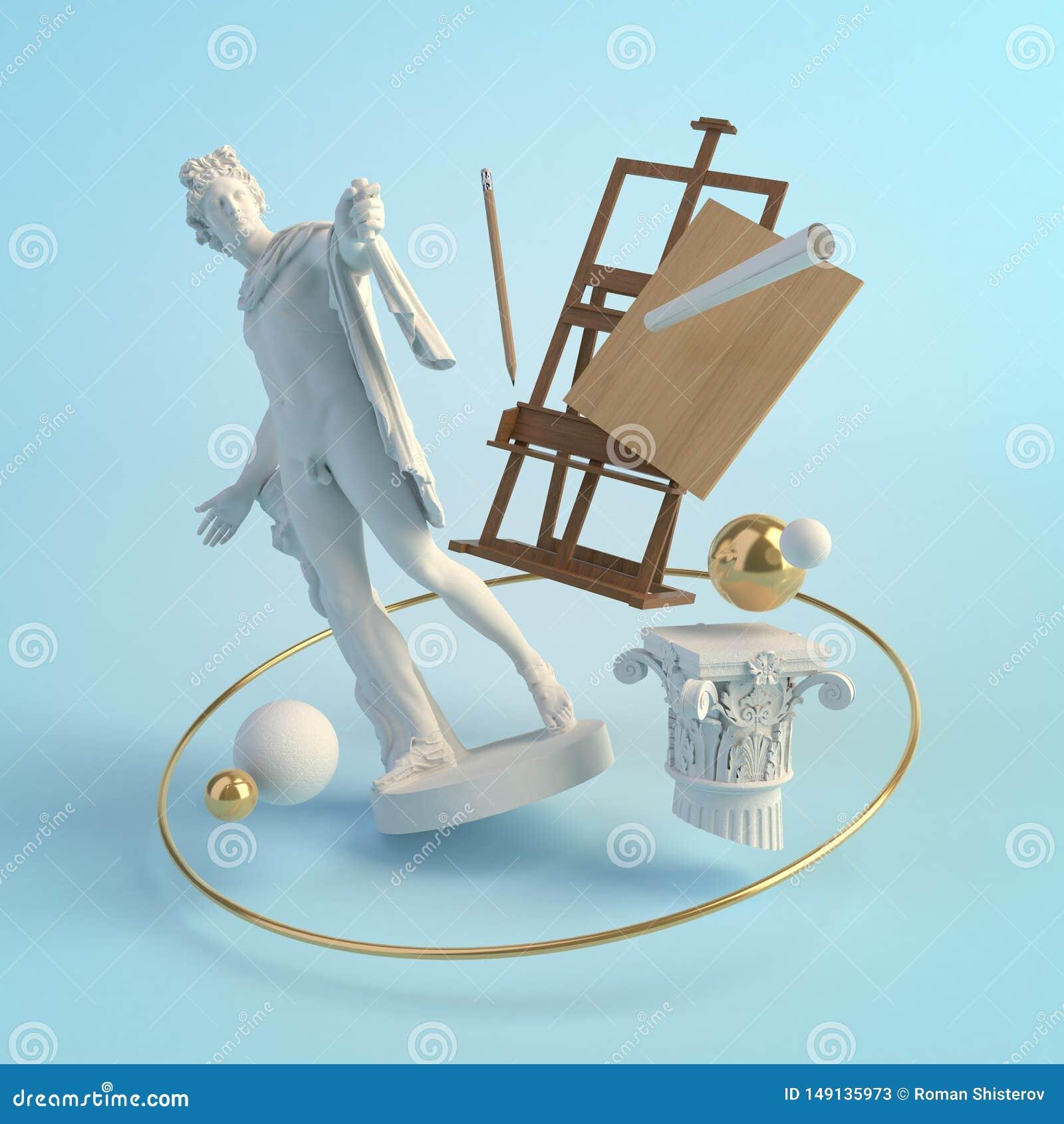 3d古老艺术的例证概念,阿波罗眺望楼,专栏,画架雕象,创造性