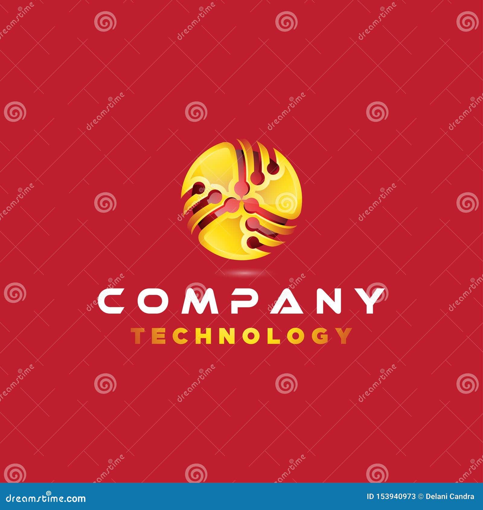 3D商标设计传染媒介象与连接的例证启发的技术公司