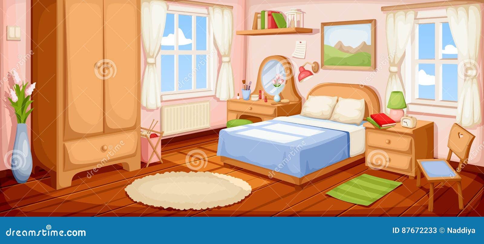 3d四周被回报的卧室内部闪电 也corel凹道例证向量