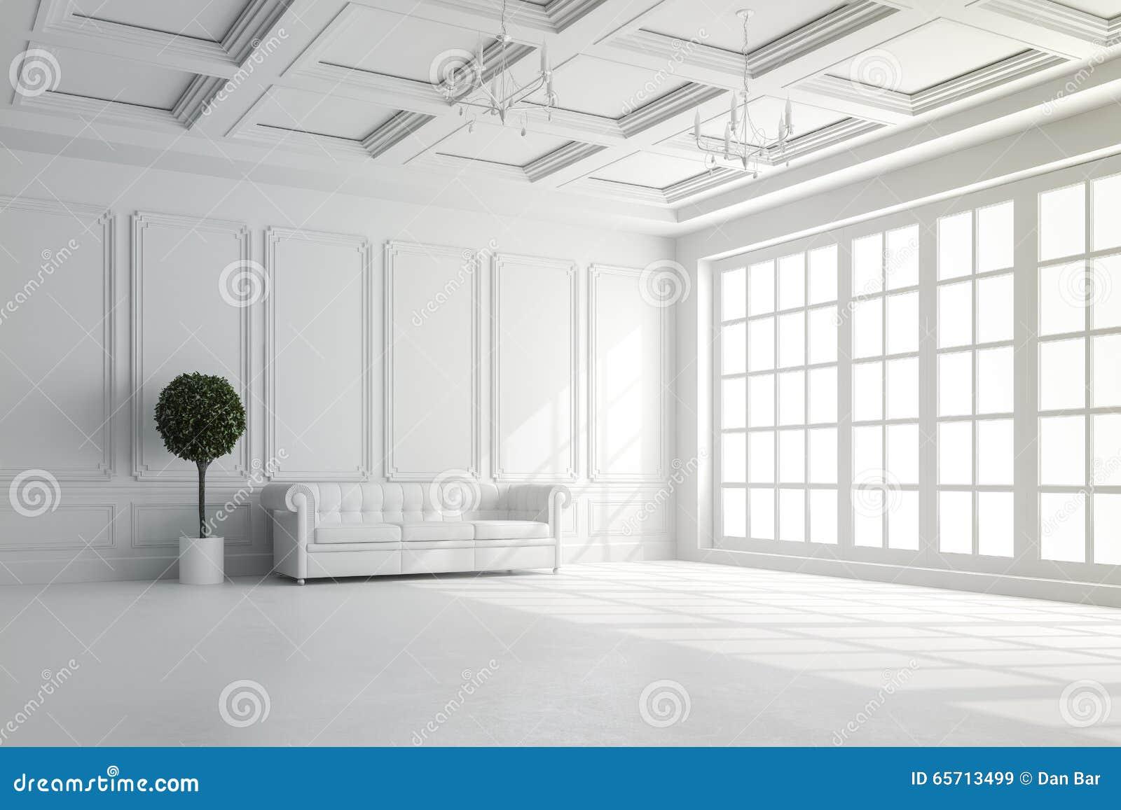 3d回报与白色墙壁和天花板设定的美好的内部