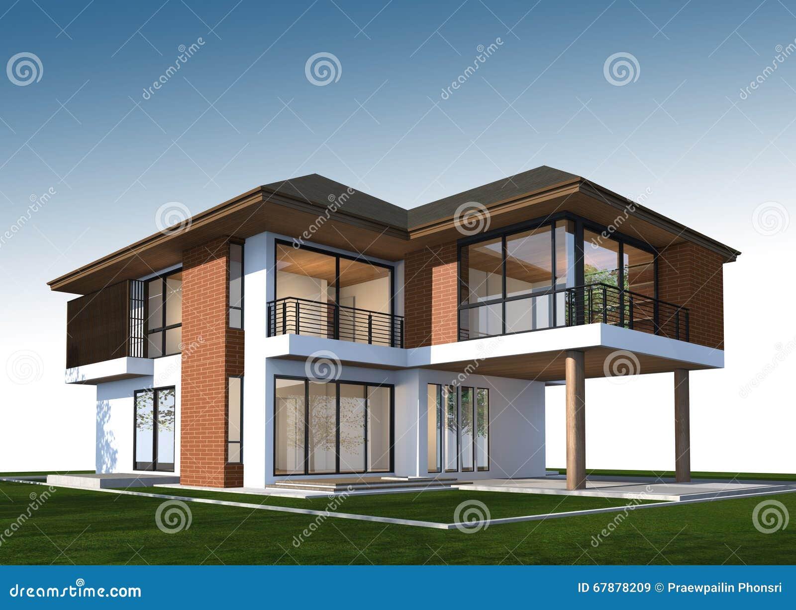 3D回报有裁减路线的热带房子