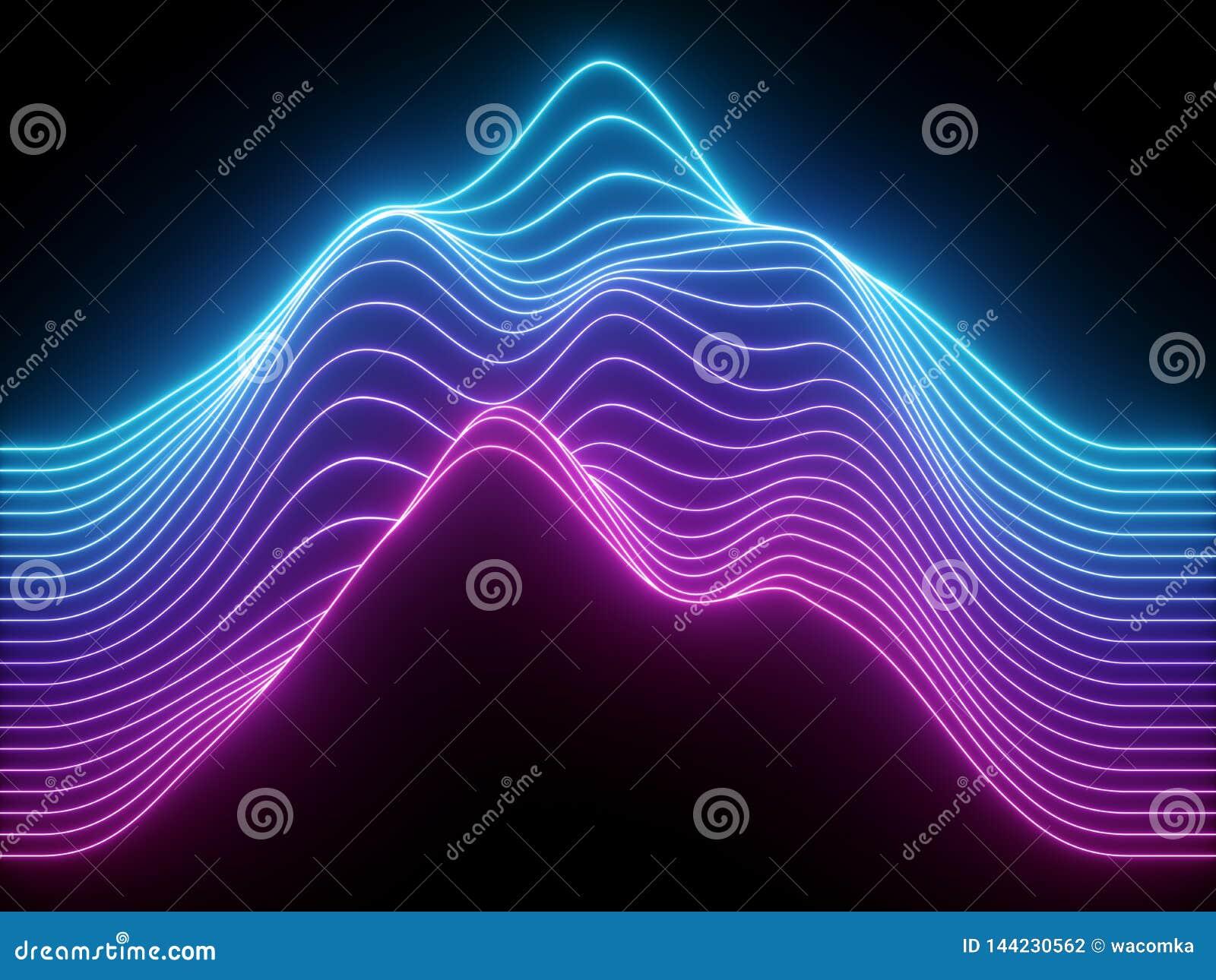 3d回报,桃红色蓝色波浪霓虹线,电子音乐真正调平器,声波形象化,紫外光摘要