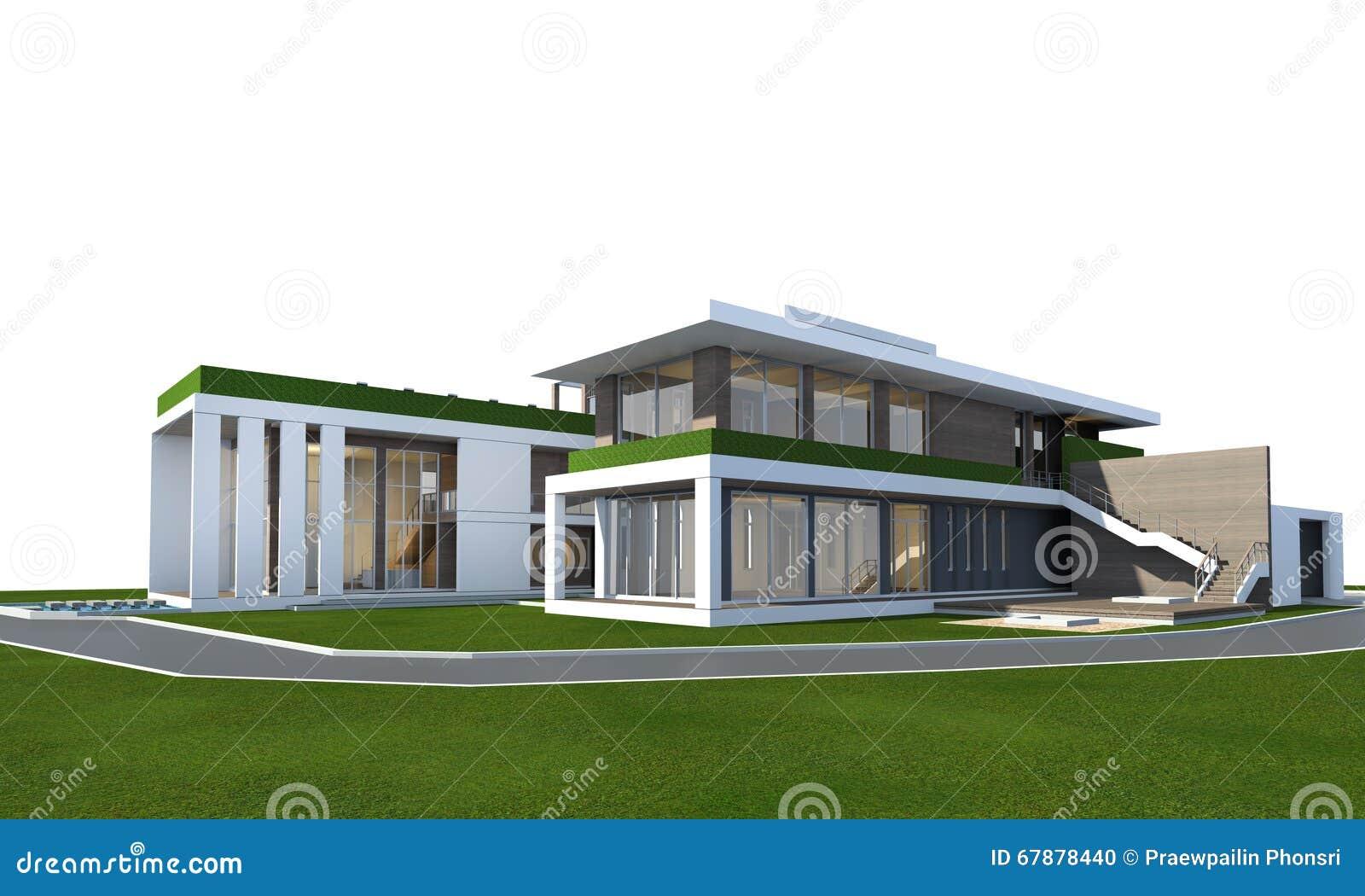 3D在与裁减路线的白色隔绝的房子翻译