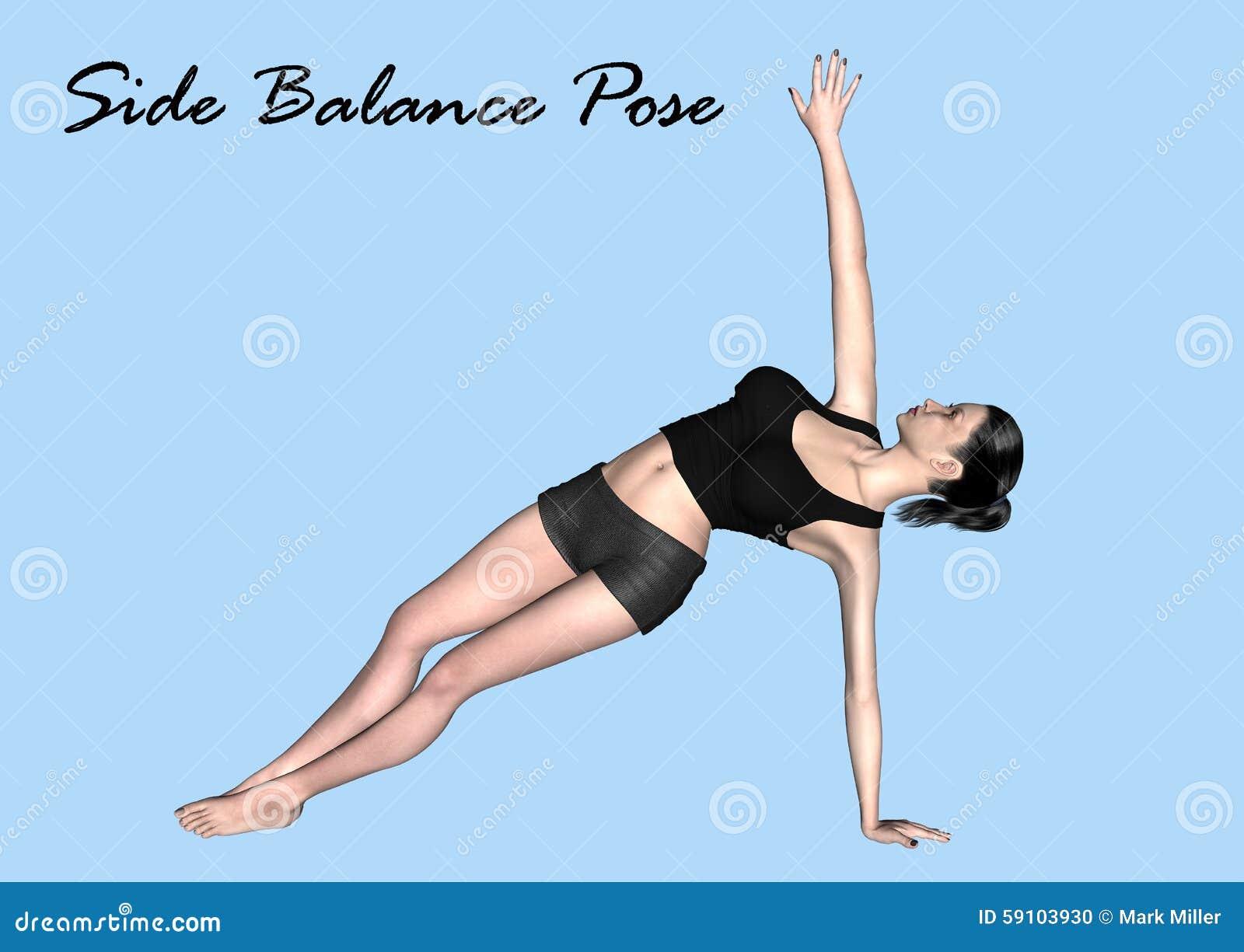 3d在瑜伽姿势-旁边平衡姿势的模型