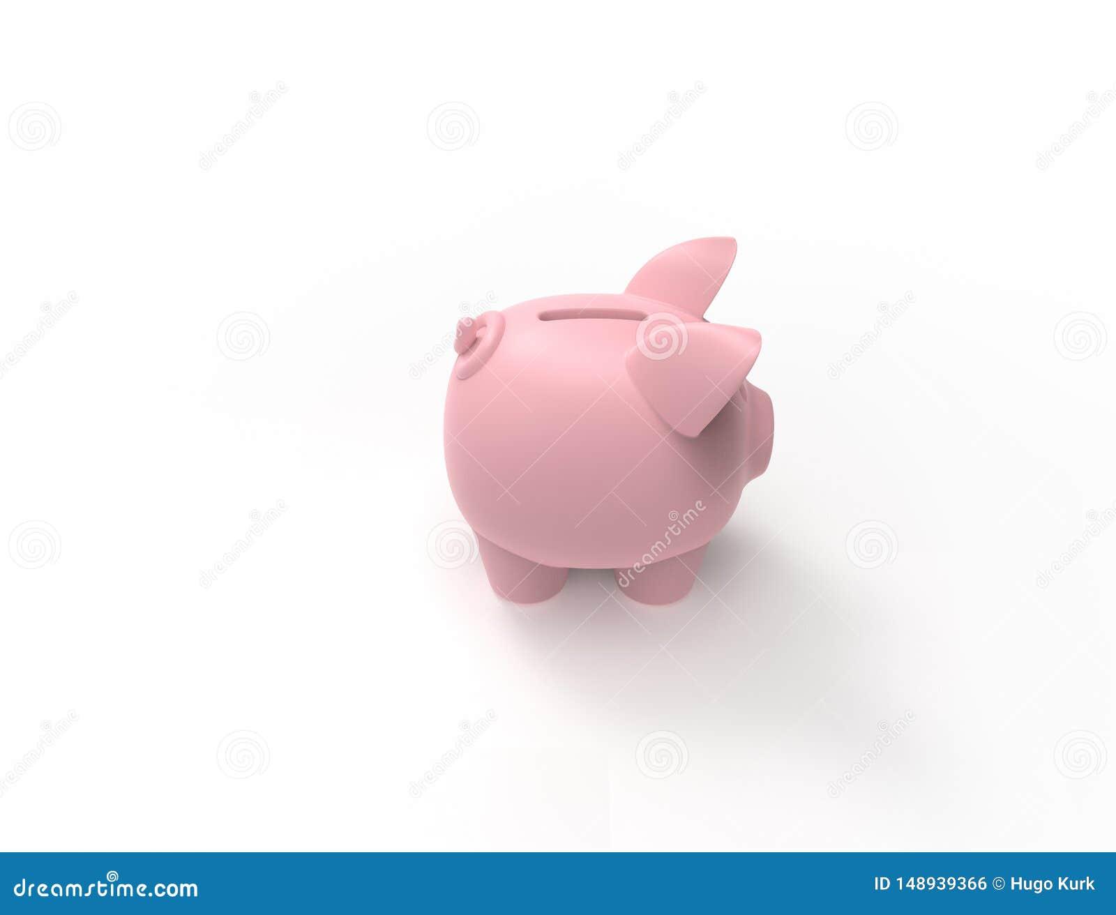 3D在白色背景中隔绝的桃红色存钱罐的翻译
