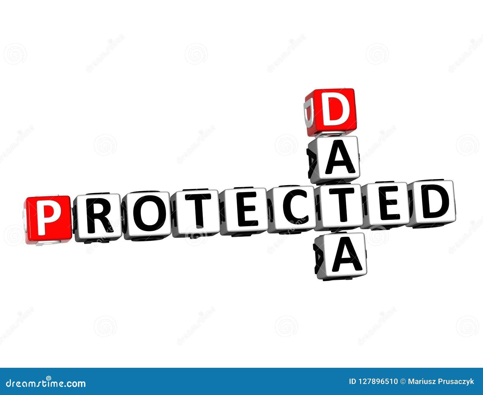 3D在白色背景的翻译纵横填字谜数据被保护的词