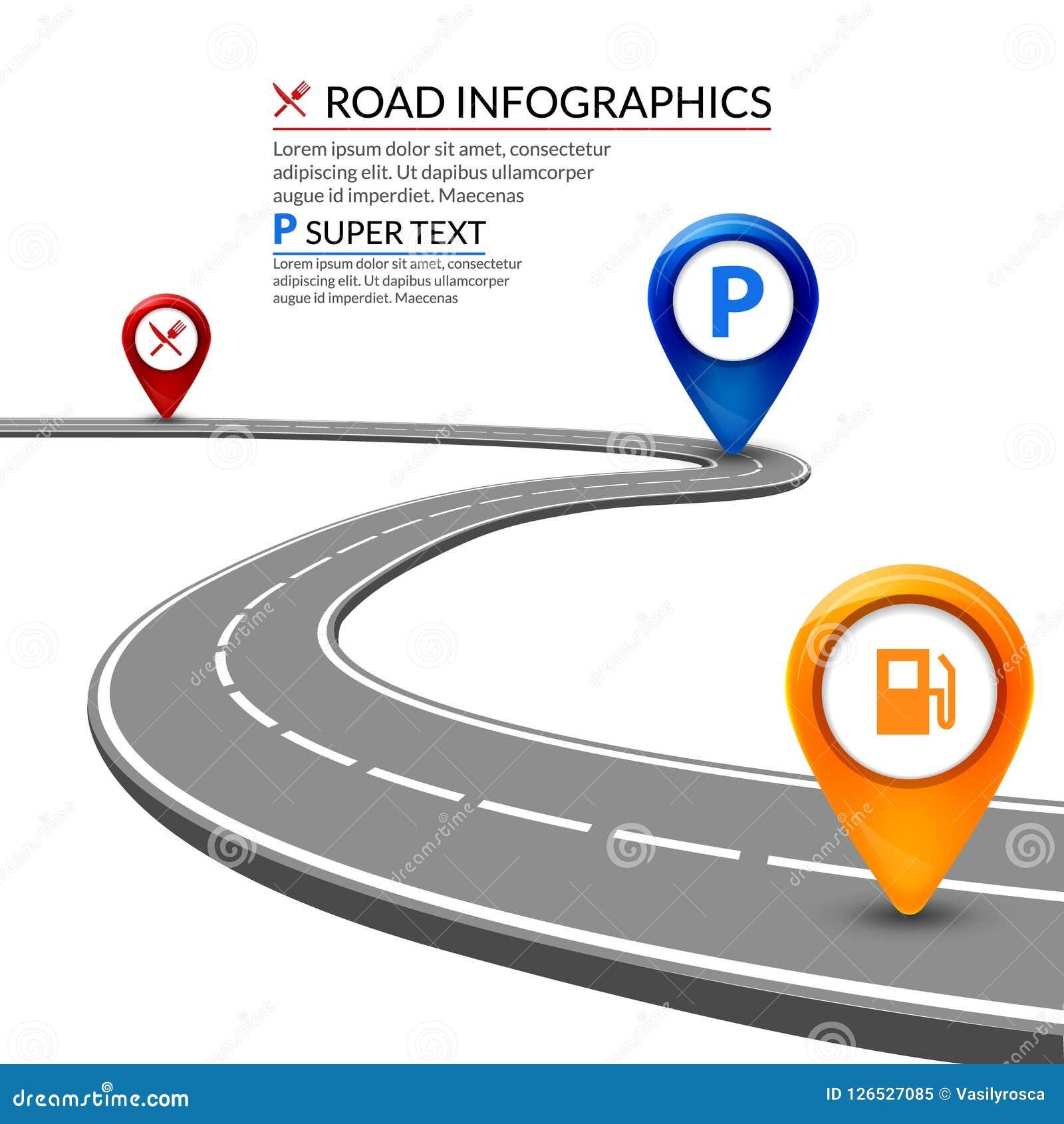 3d在白色背景的路infographic概念 企业高速公路元素设计