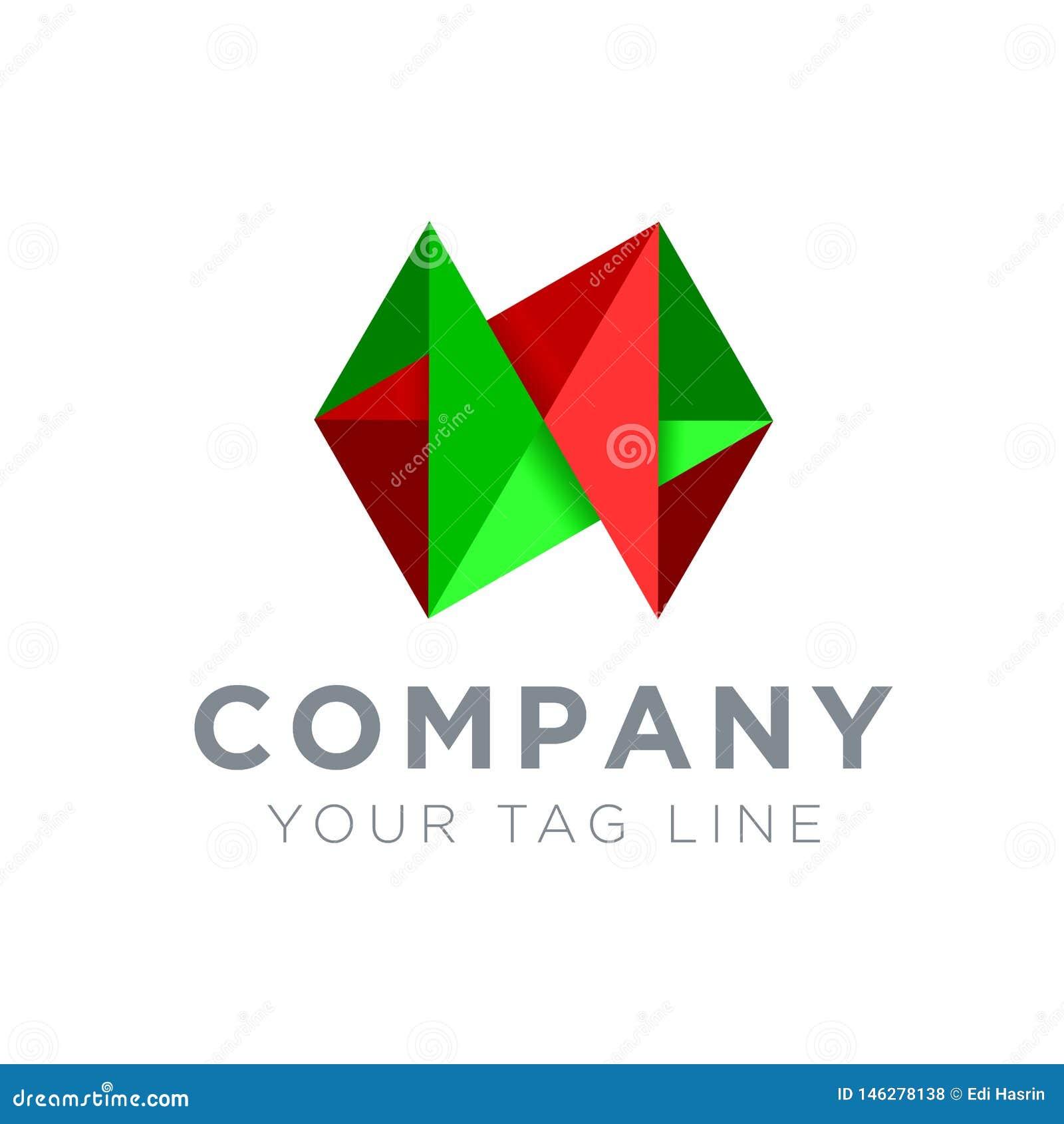 3D在绿色和红色的商标