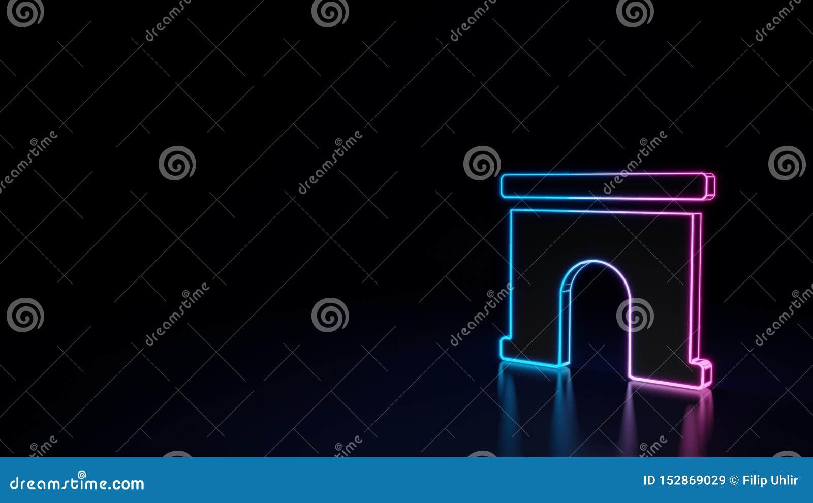 3d在黑背景隔绝的拱道的标志的发光的霓虹标志
