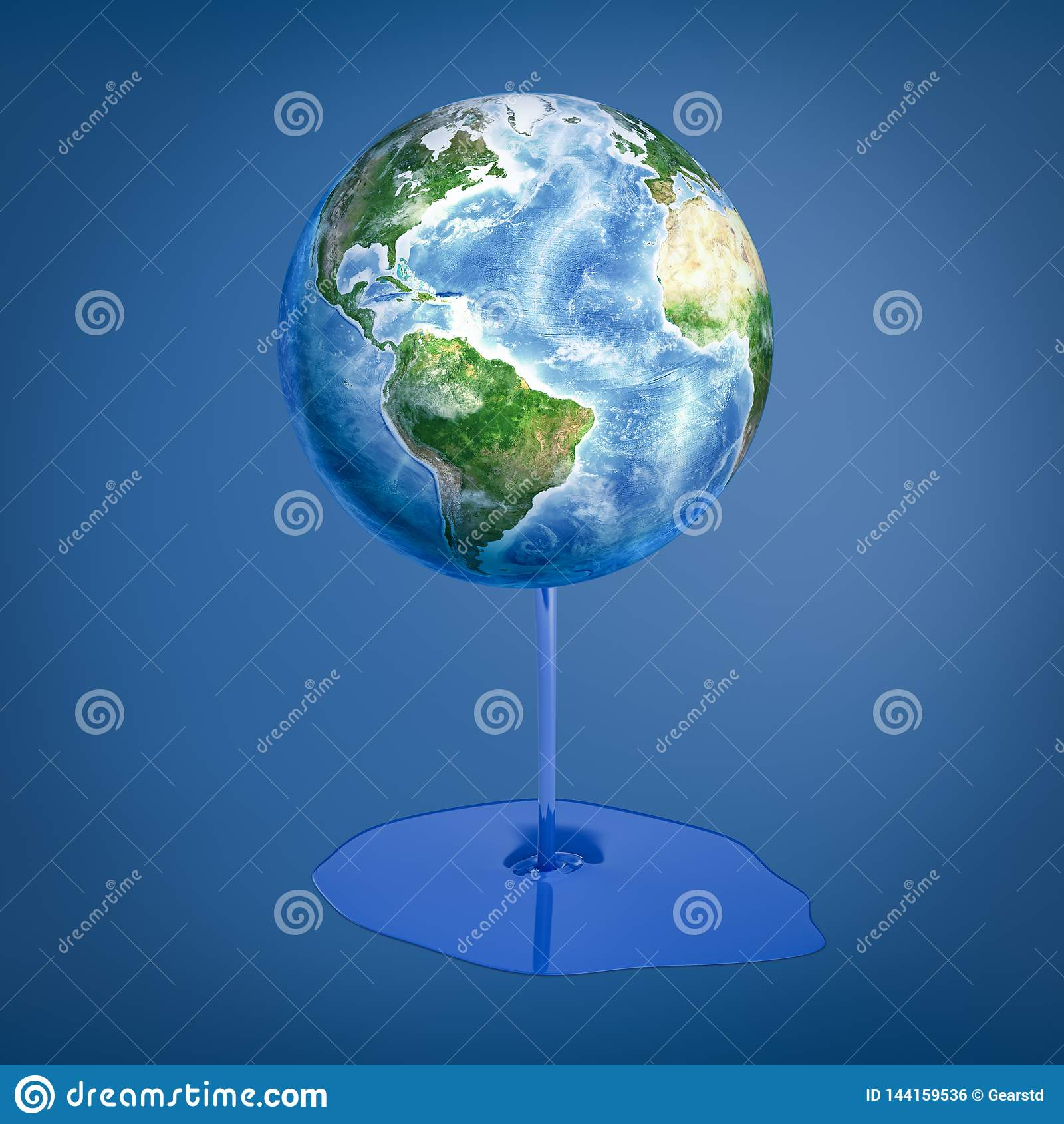 3d地球地球翻译与熔化在蓝色背景的蓝色厚实的液体的