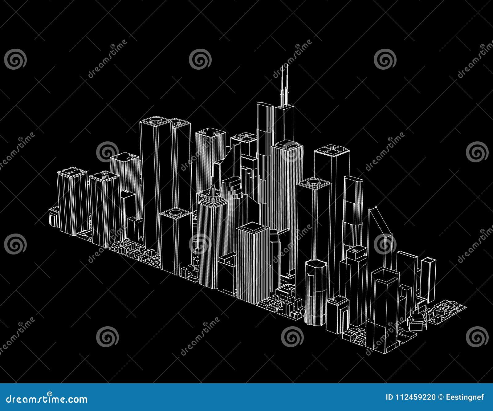 3D城市模型  查出在黑色背景 传染媒介概述我