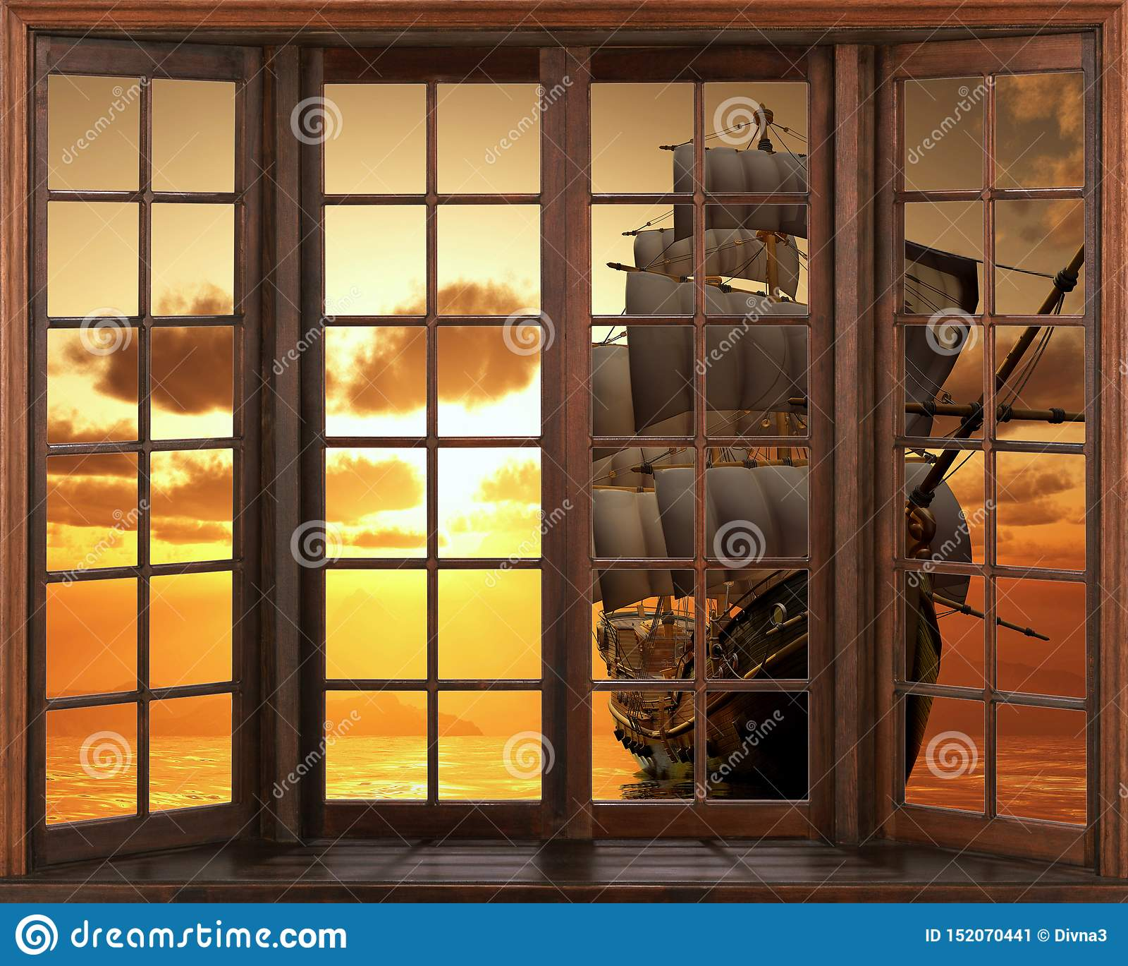 3D墙纸,窗口视图帆船船大篷车 在防波堤贴纸视图的日落从窗口