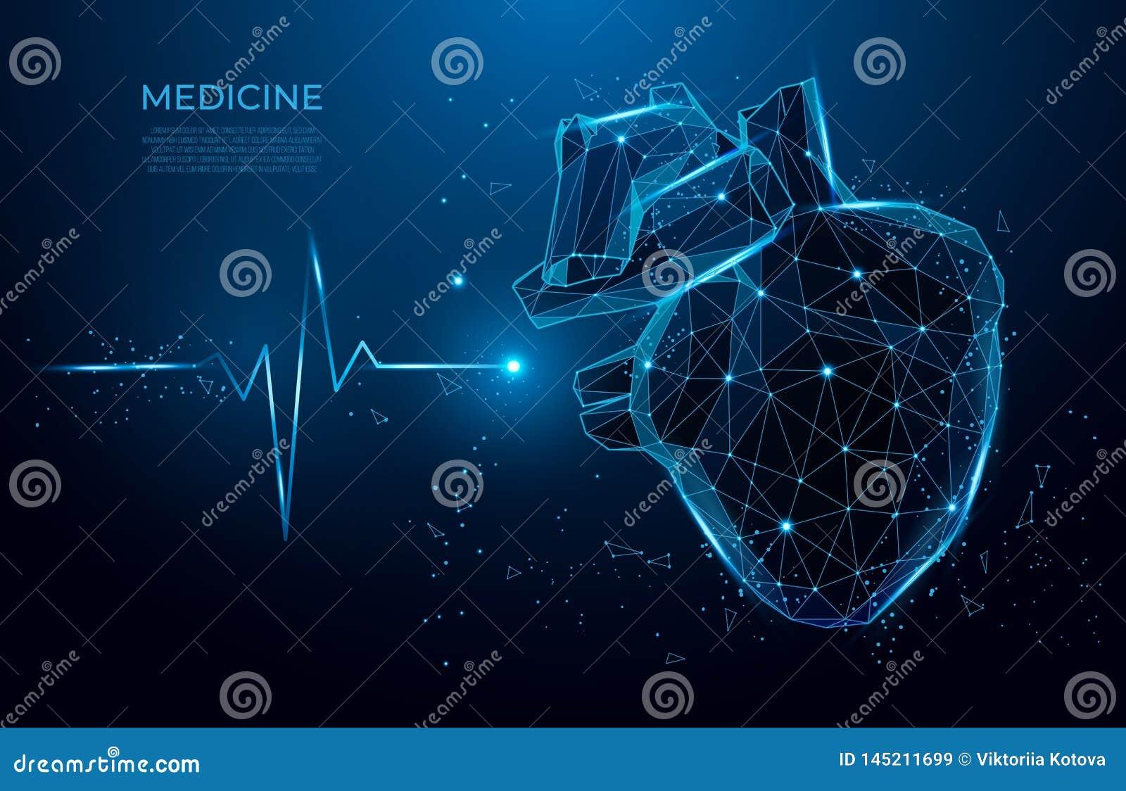 抽象沉重形式线和三角,在蓝色背景的点连接的网络 3d多低医学的模型