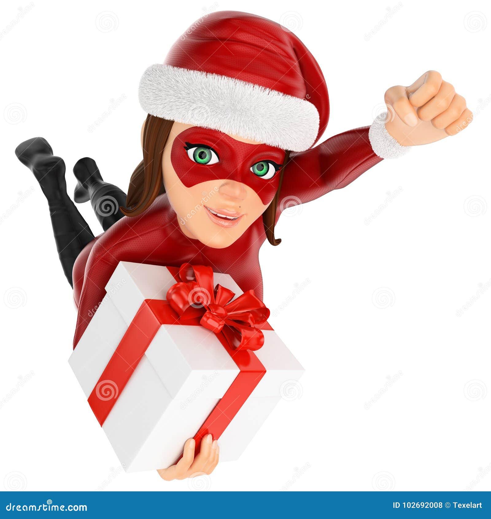 3D妇女圣诞节与礼物的超级英雄飞行