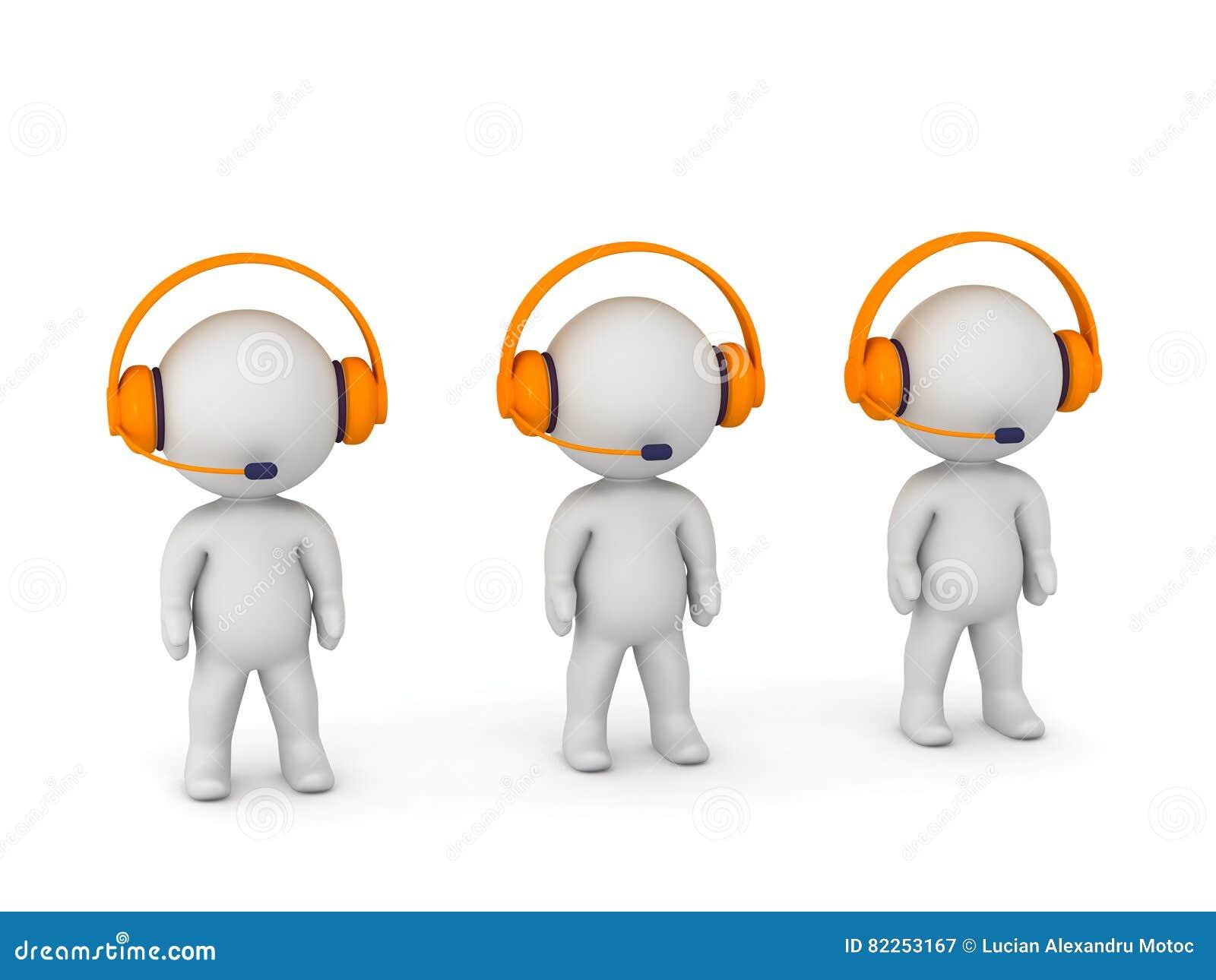 3D字符在与耳机和话筒的电话中心