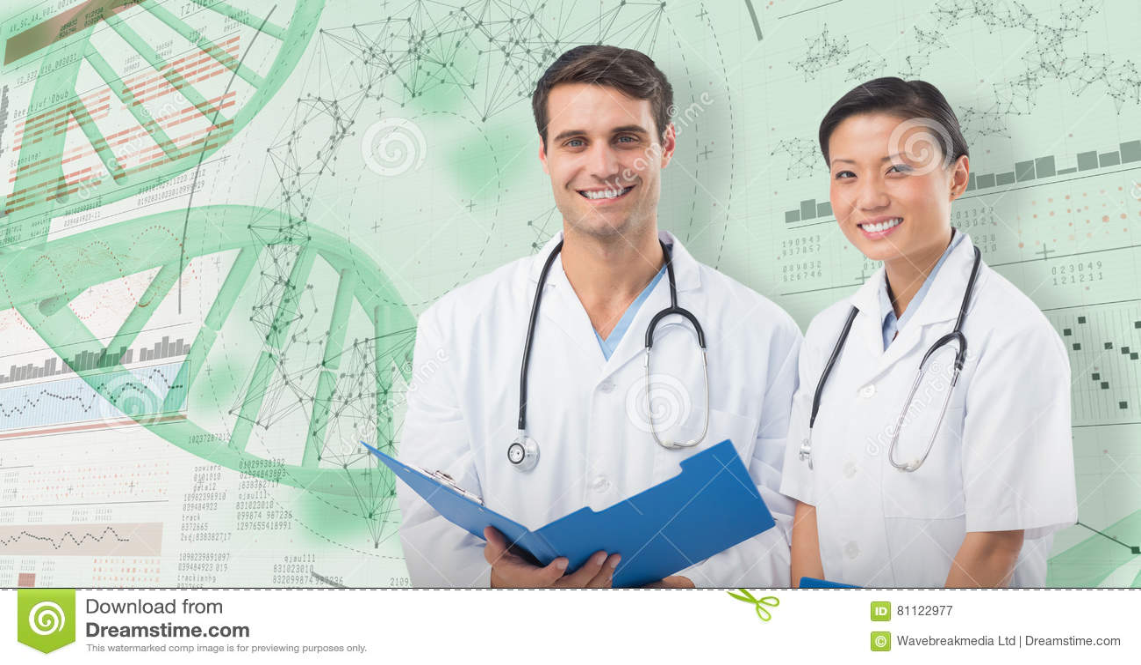 3D微笑的医生画象的综合图象有医疗报告的