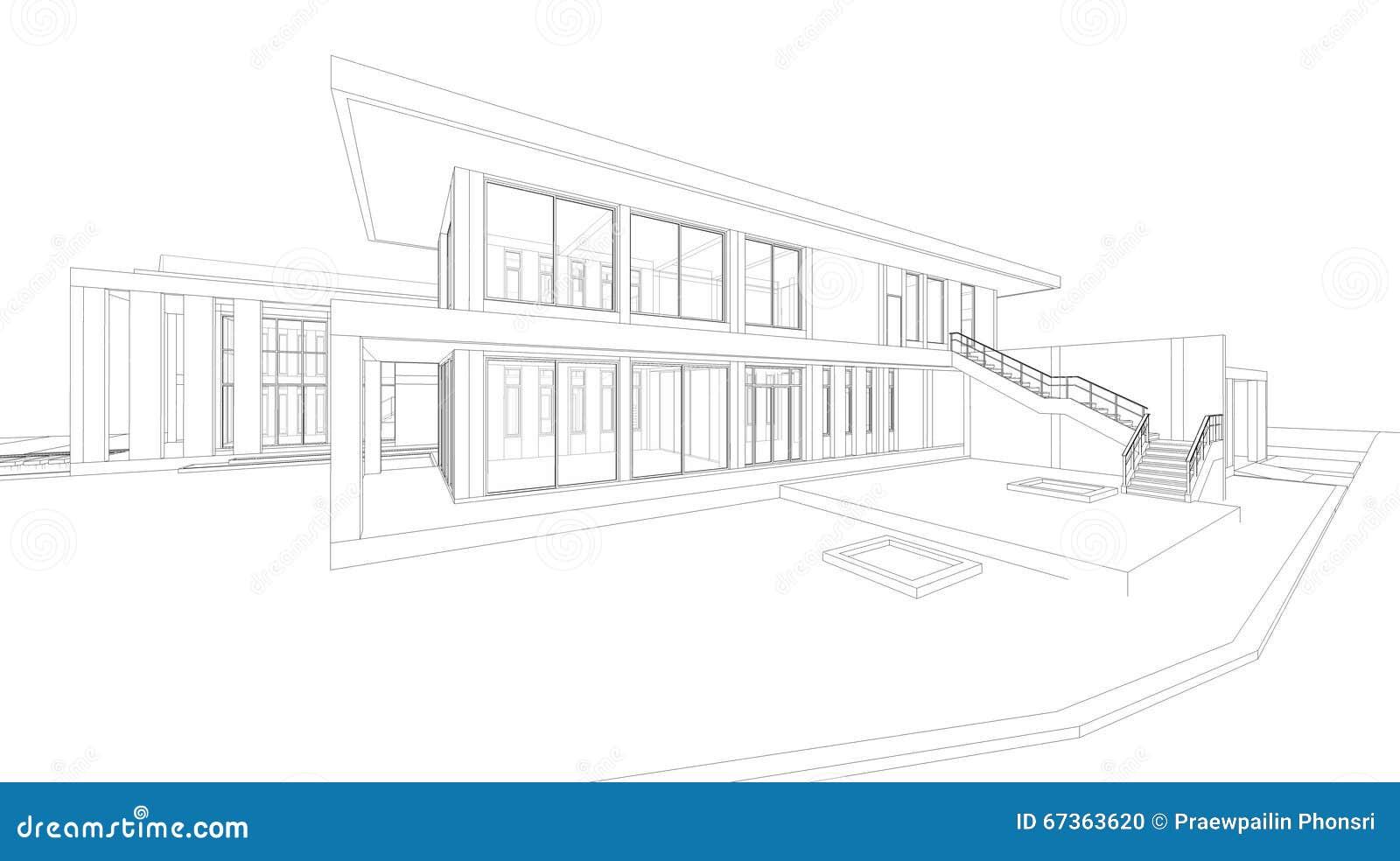 3D房子翻译抽象wireframe透视