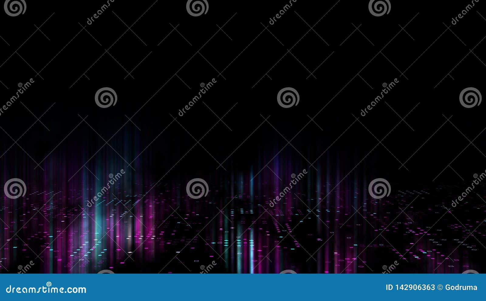 3d抽象派背景回报,圈子和小点在黑色、retrowave和synthwave例证