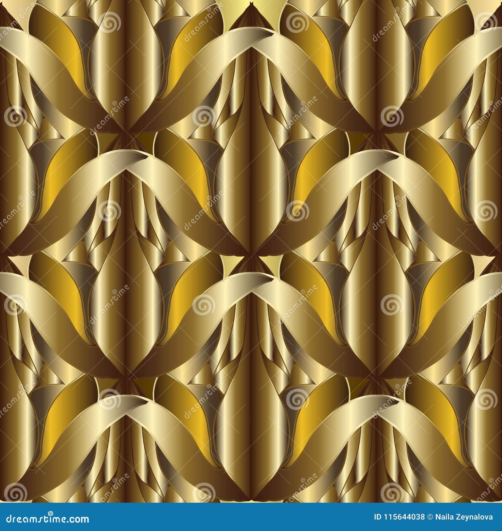 3d抽象织地不很细金子传染媒介无缝的样式 华丽啪答声