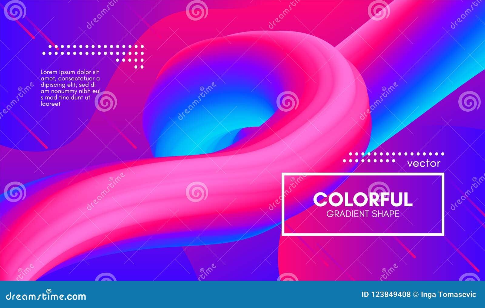 3d抽象背景 五颜六色的波浪流体形状