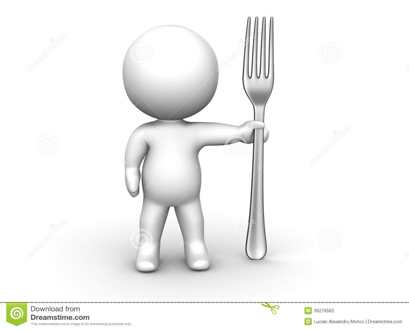 3D有叉子的人