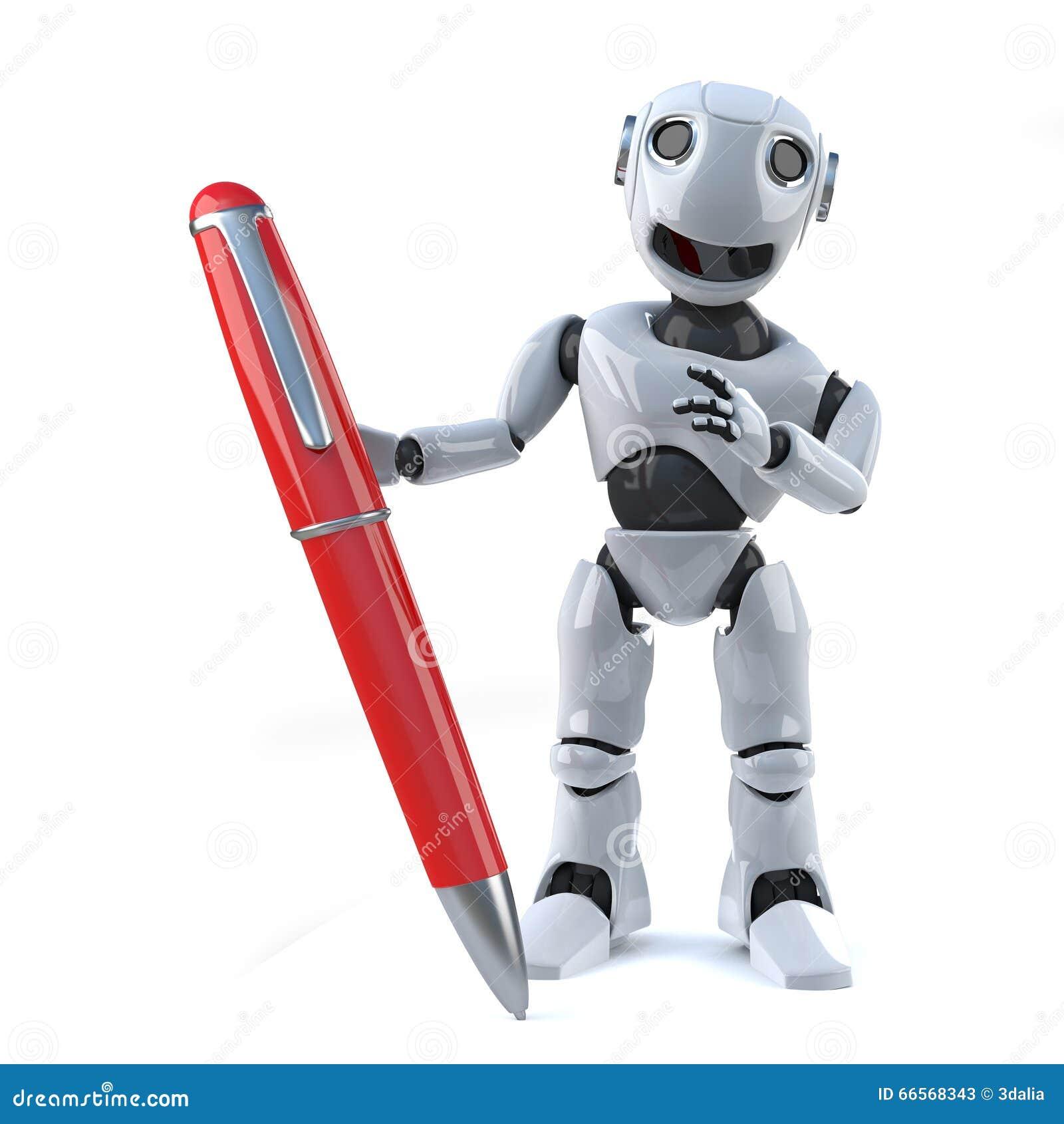 3d拿着一支红色笔的机器人图片