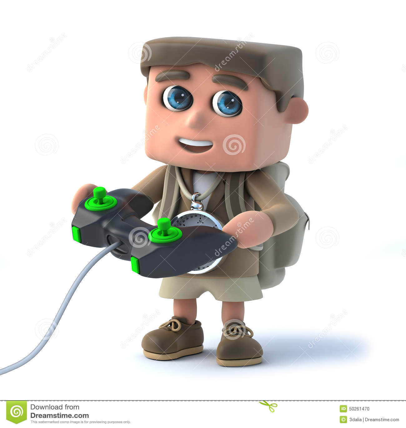 3d探险家孩子打电子游戏图片